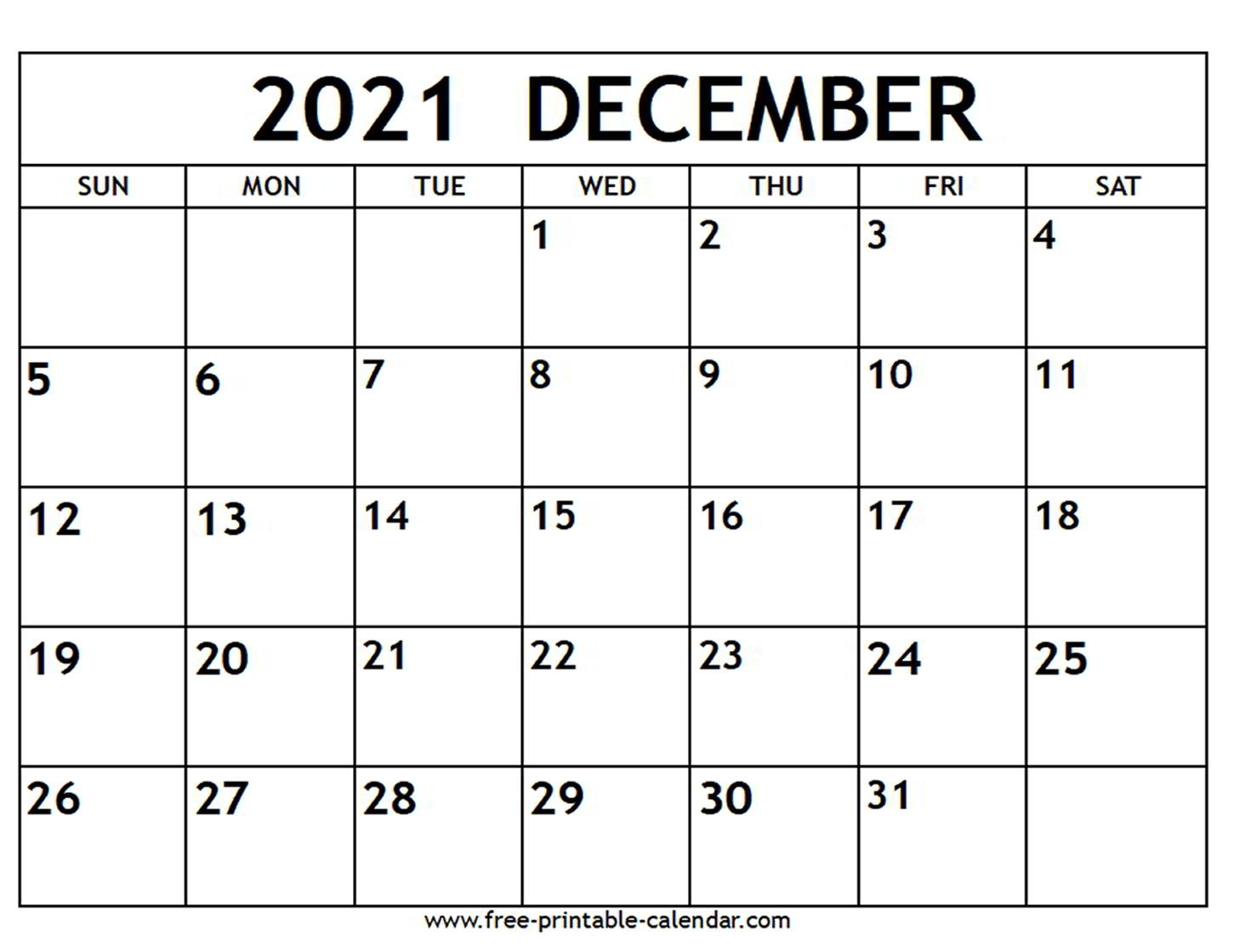 Collect Decembers Calender For 2021