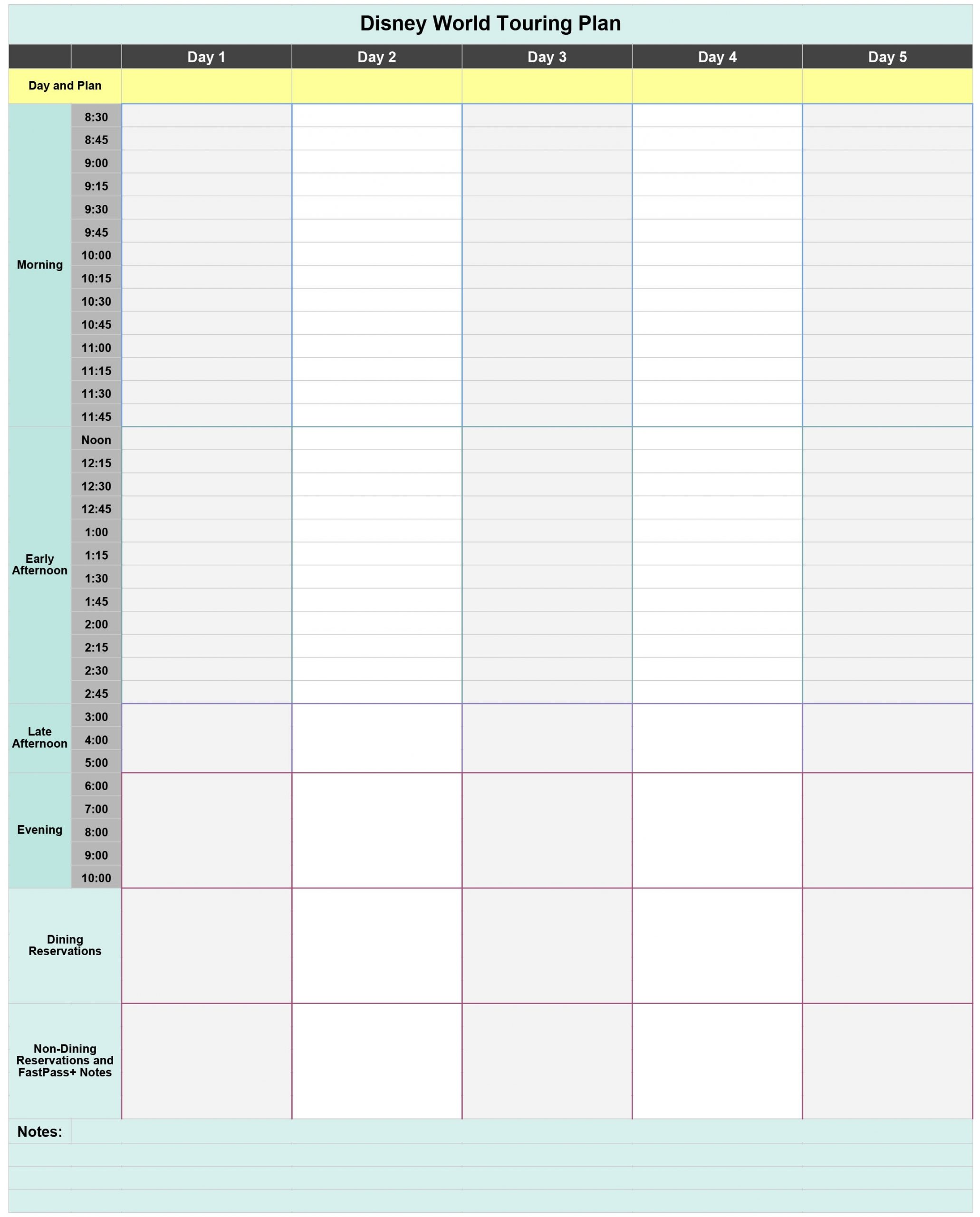 Collect Disney Vacation Itinerary Template
