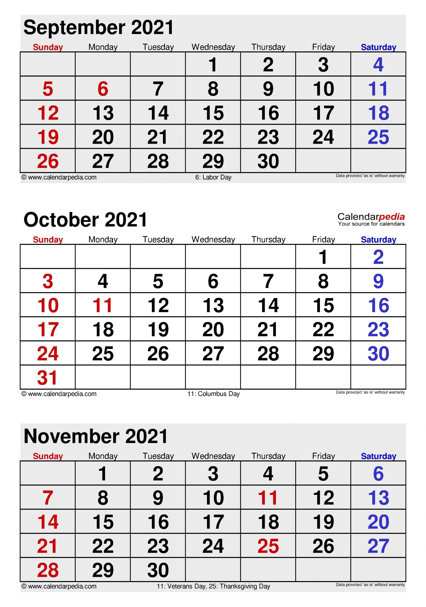 Collect Excel Calendar October 2021 Through December 2021