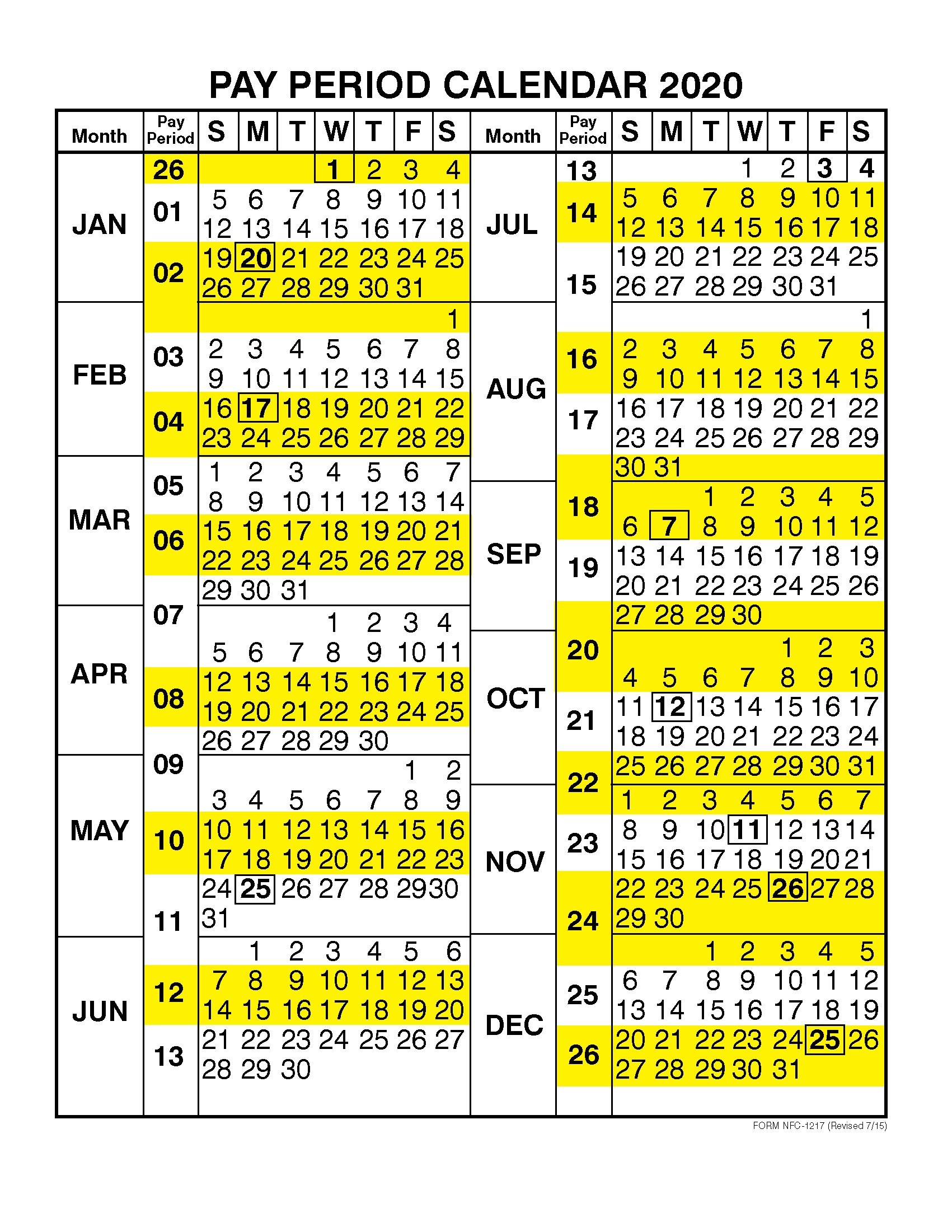 Collect Federal Pay Period Calendar For 2021