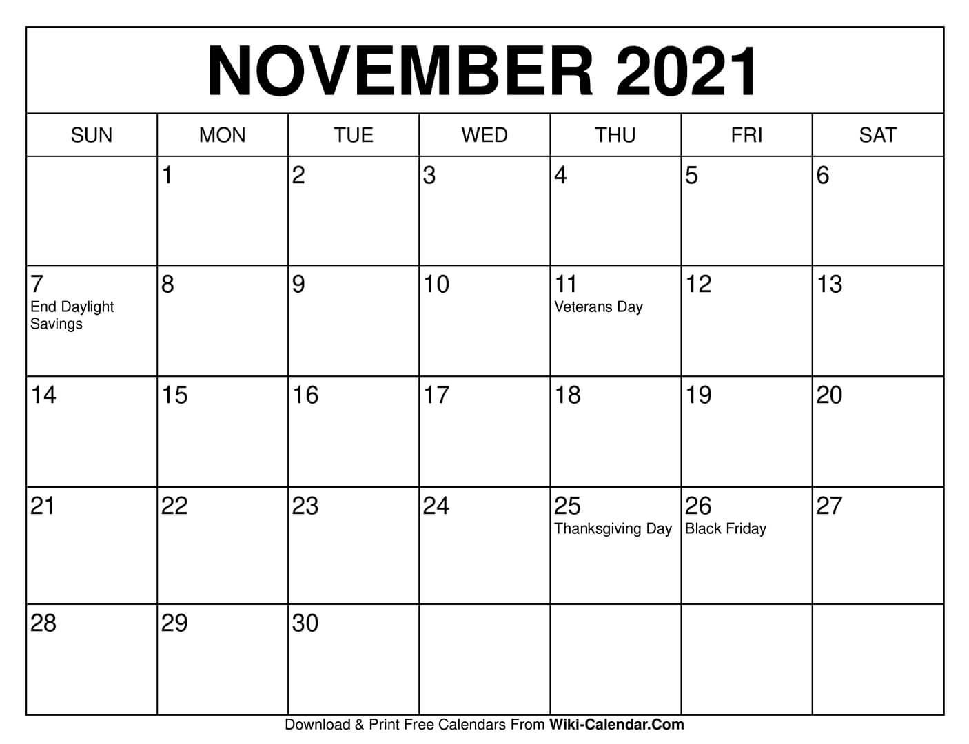 Collect Festive November 2021 Calendar Printable