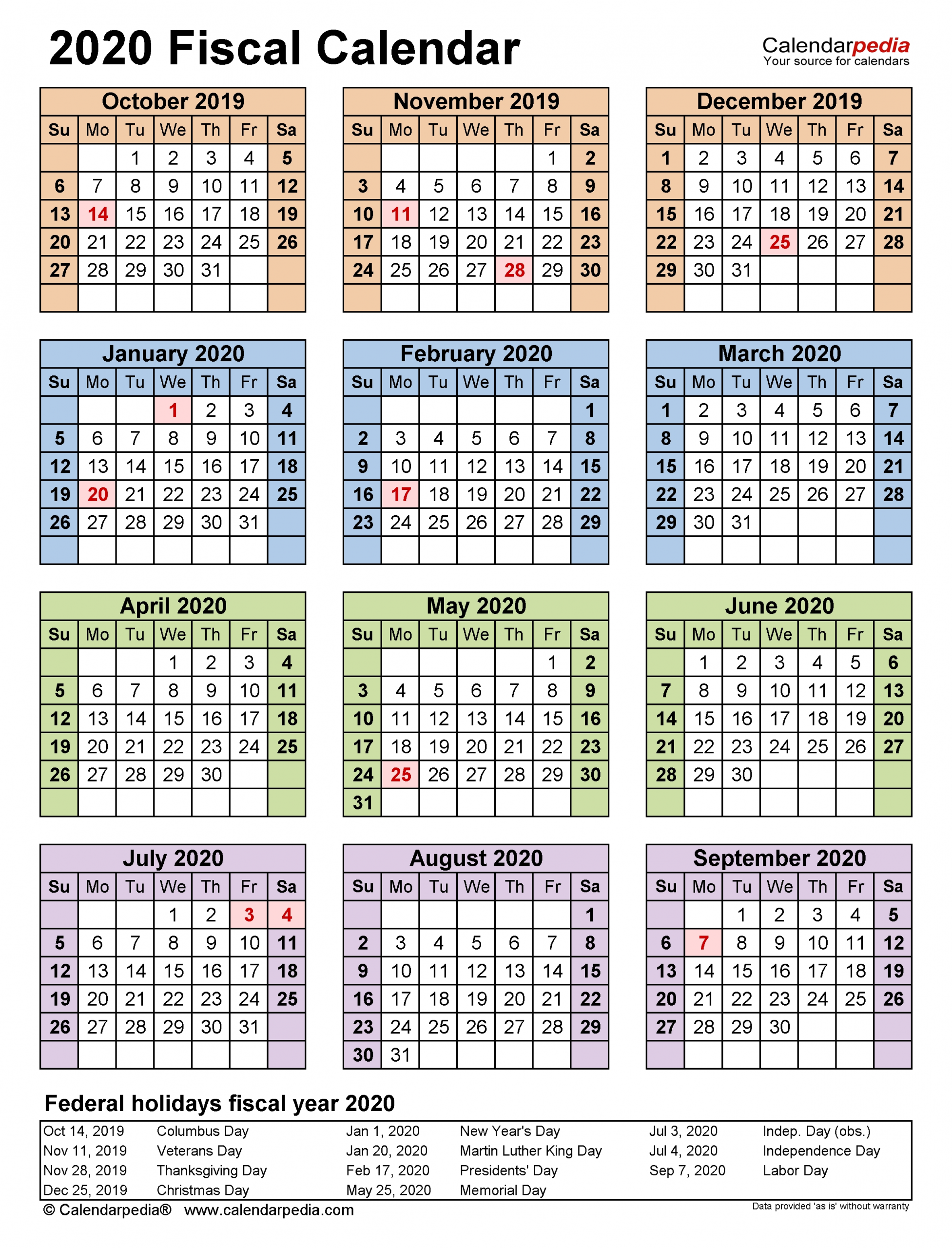 Collect Financial Week Calendar