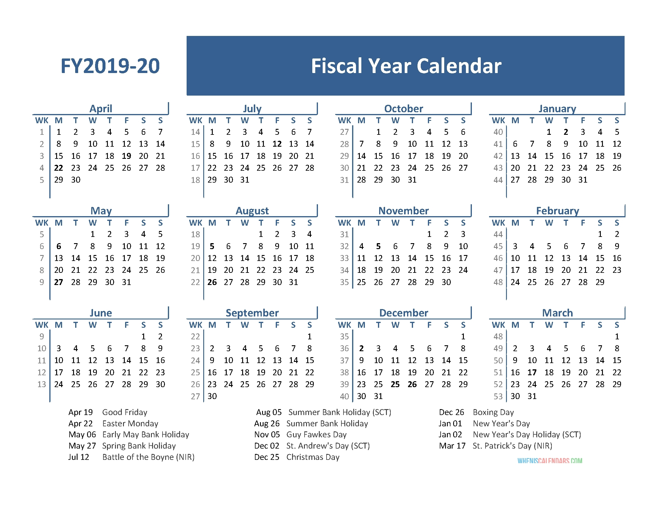 Collect Financial Year Calender With Week Numberes