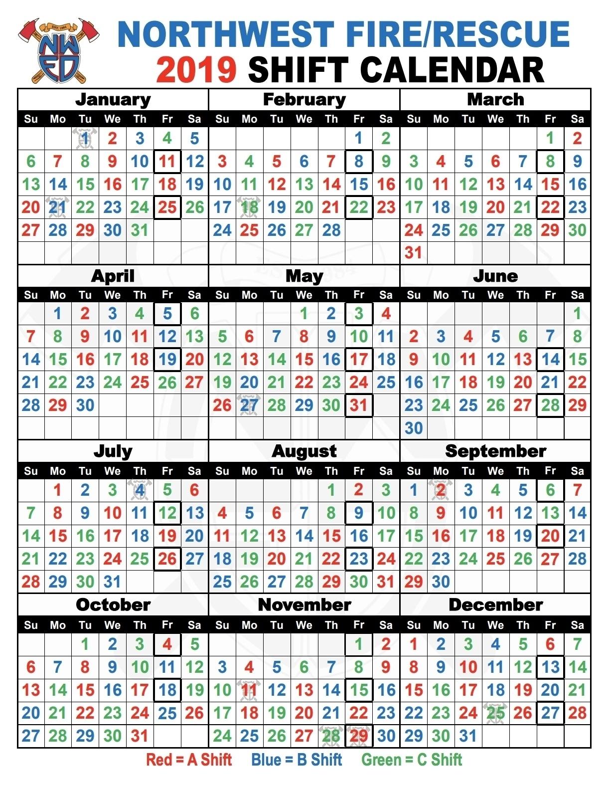 Collect Fire Department Calendar 24/48 Shift