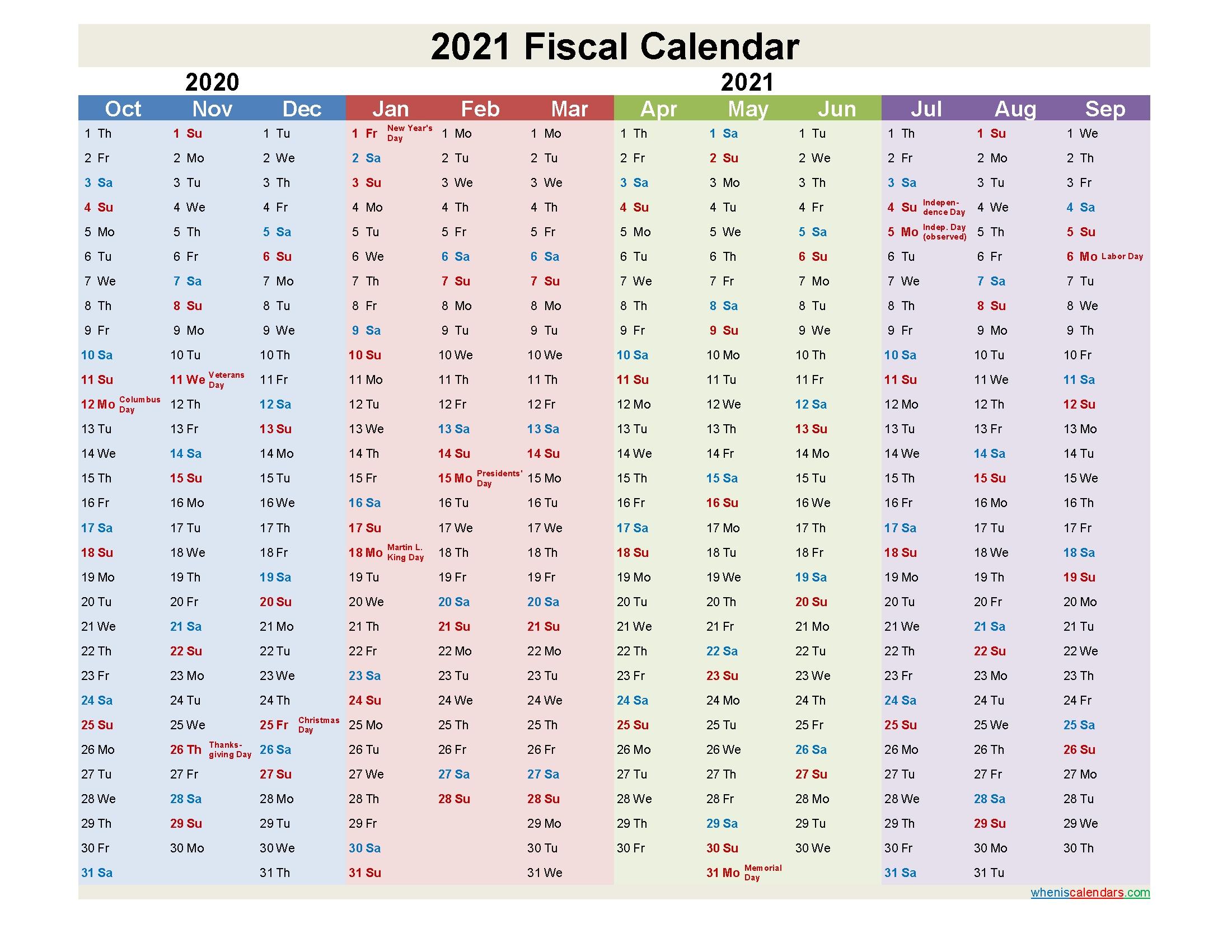 Collect Fiscal Calendar 2021 2021