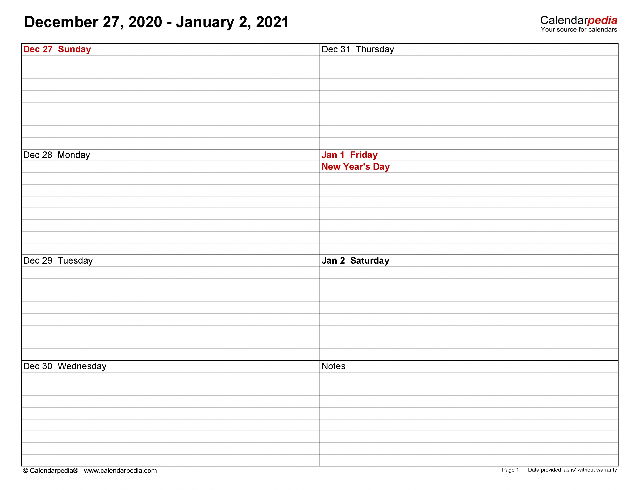 Collect Free 5X8 Weekly Planner Printables