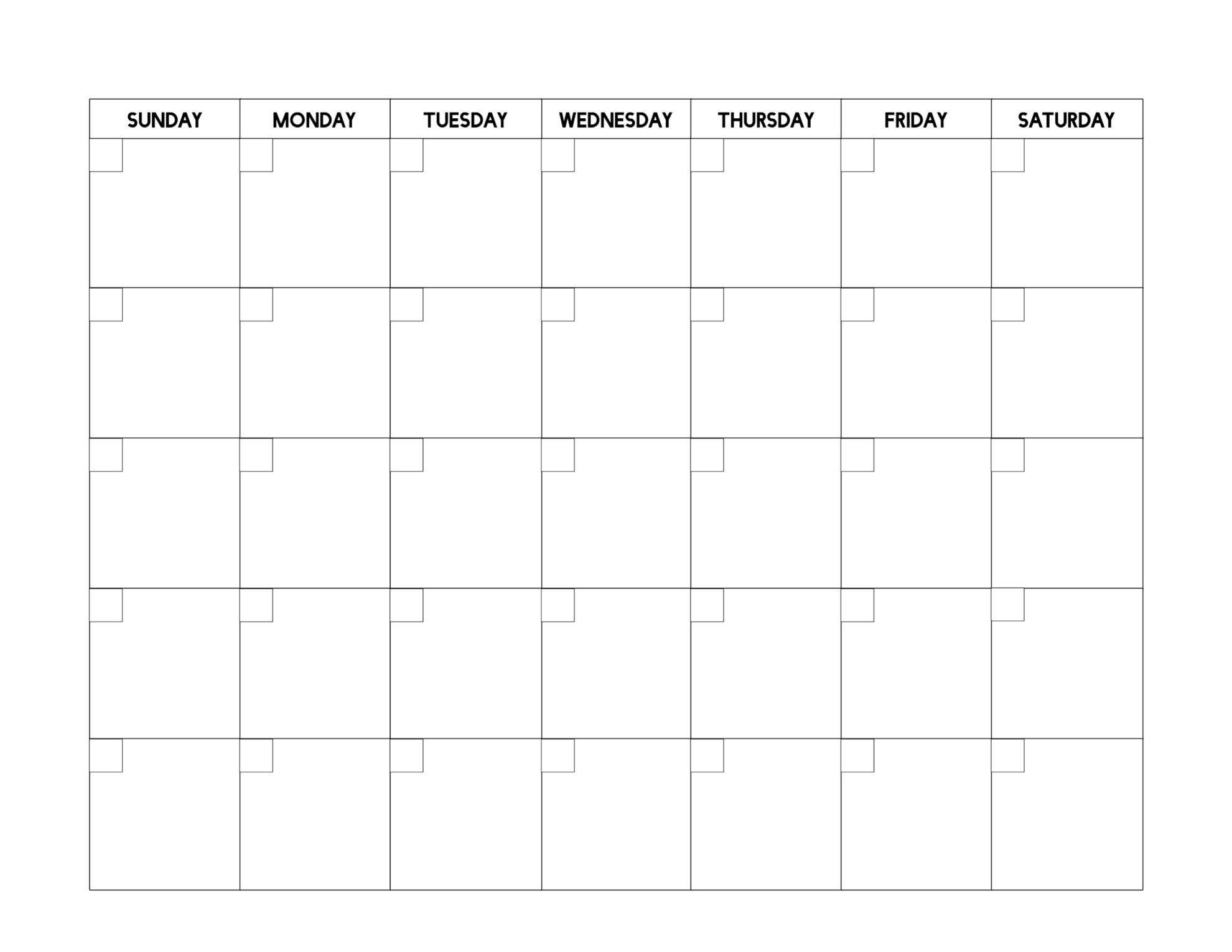 Collect Free Blank Calendar Printable