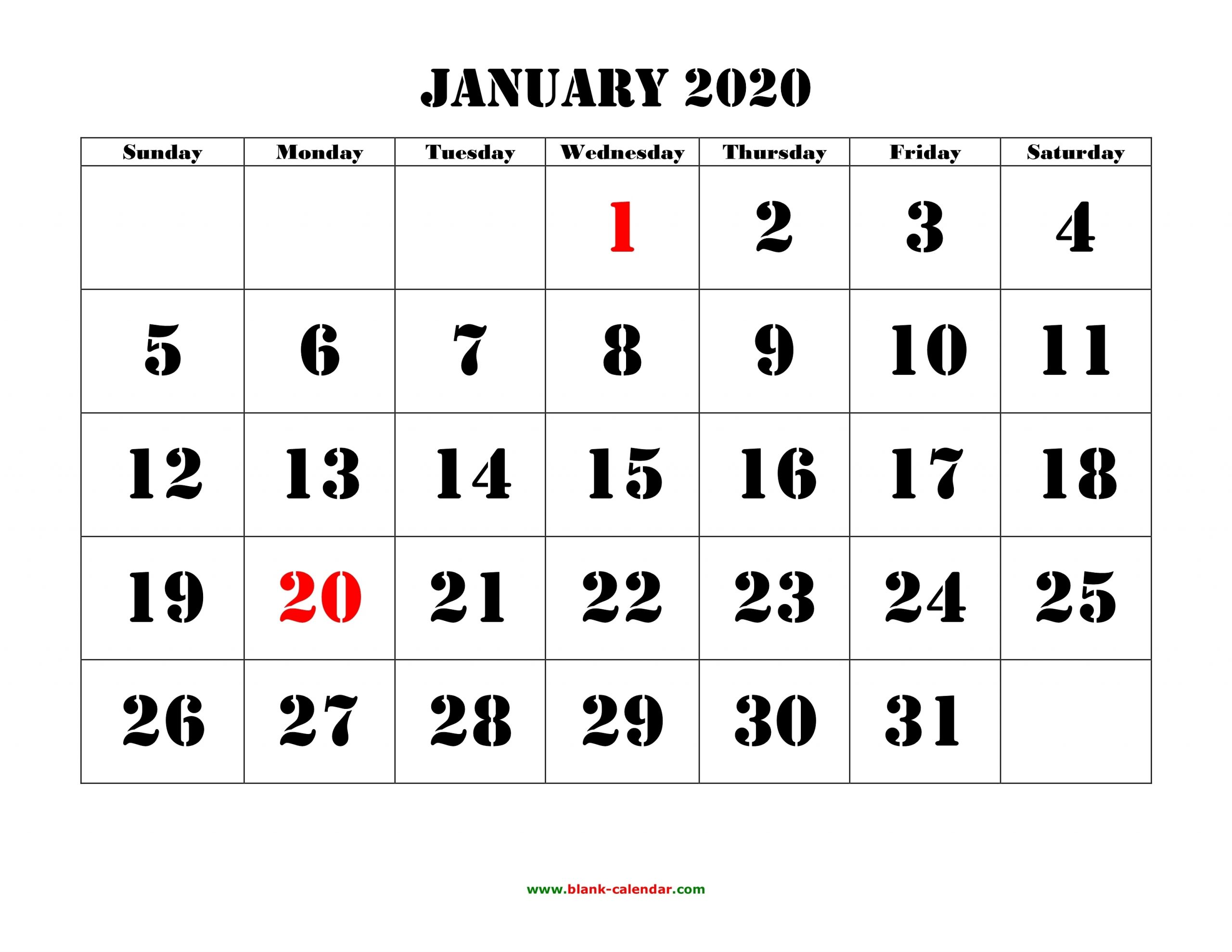 Collect Free Large Number Printables Calendar