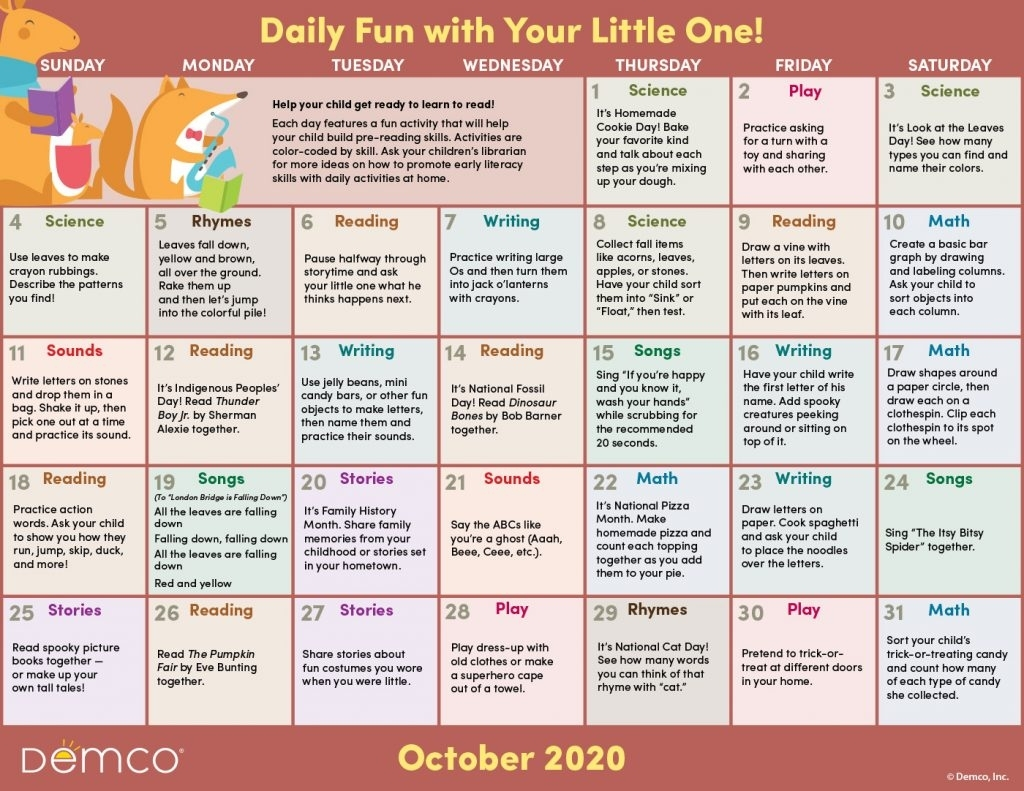 Collect Free Monthly Activities Calendar