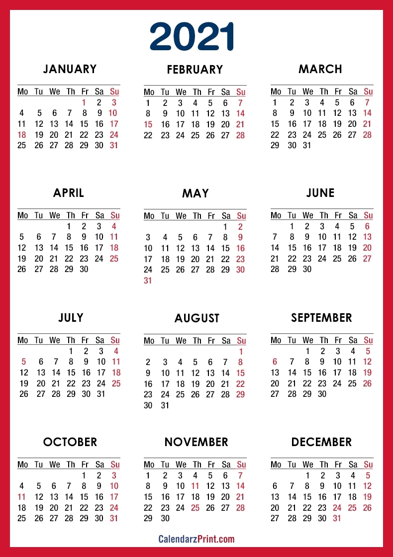 Collect Free Printable 2021 Calendar With Holidays Us