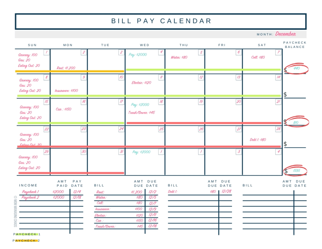 Collect Free Printable Biweekly Bill Planner