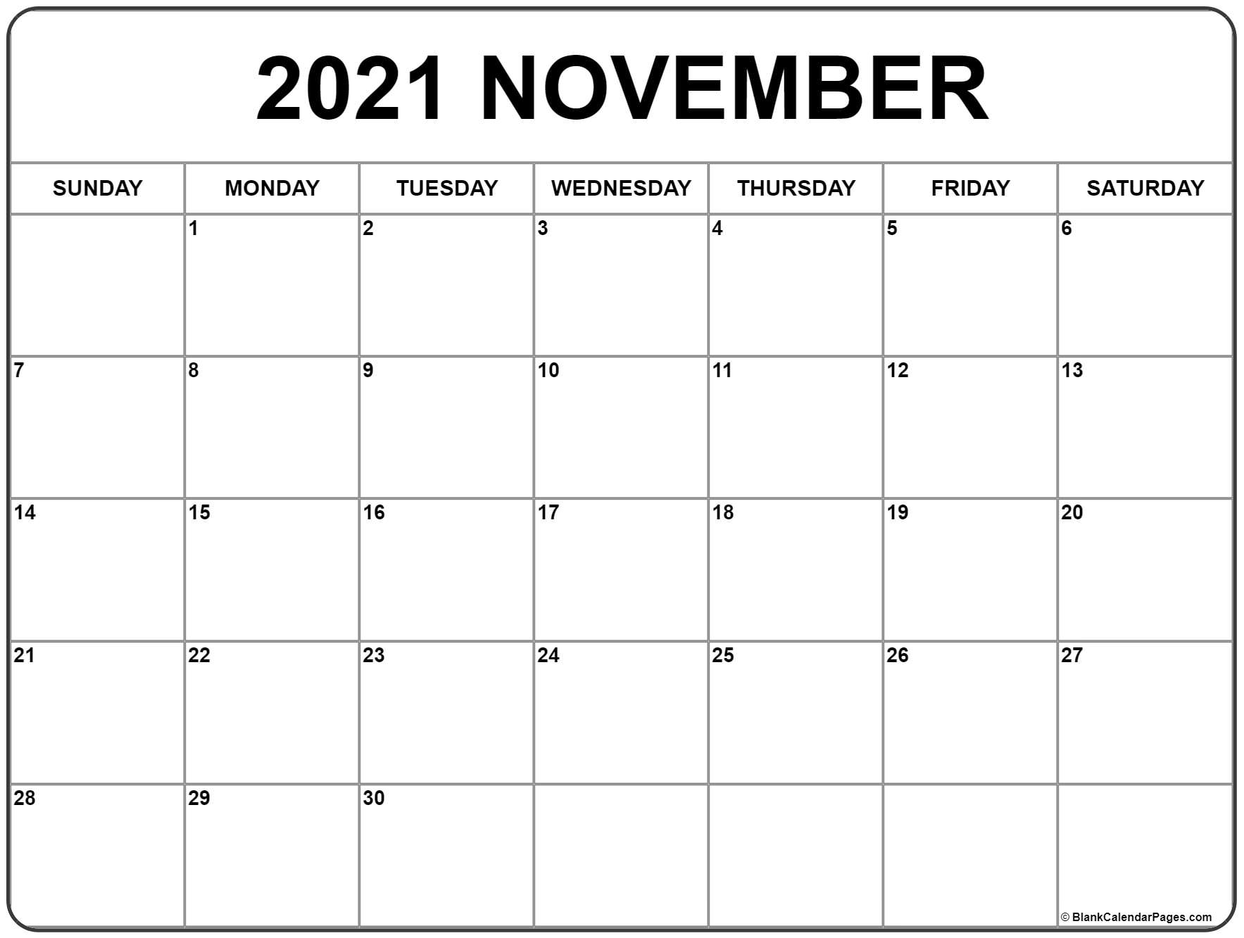 Collect Free Printable Blank Calendar November 2021