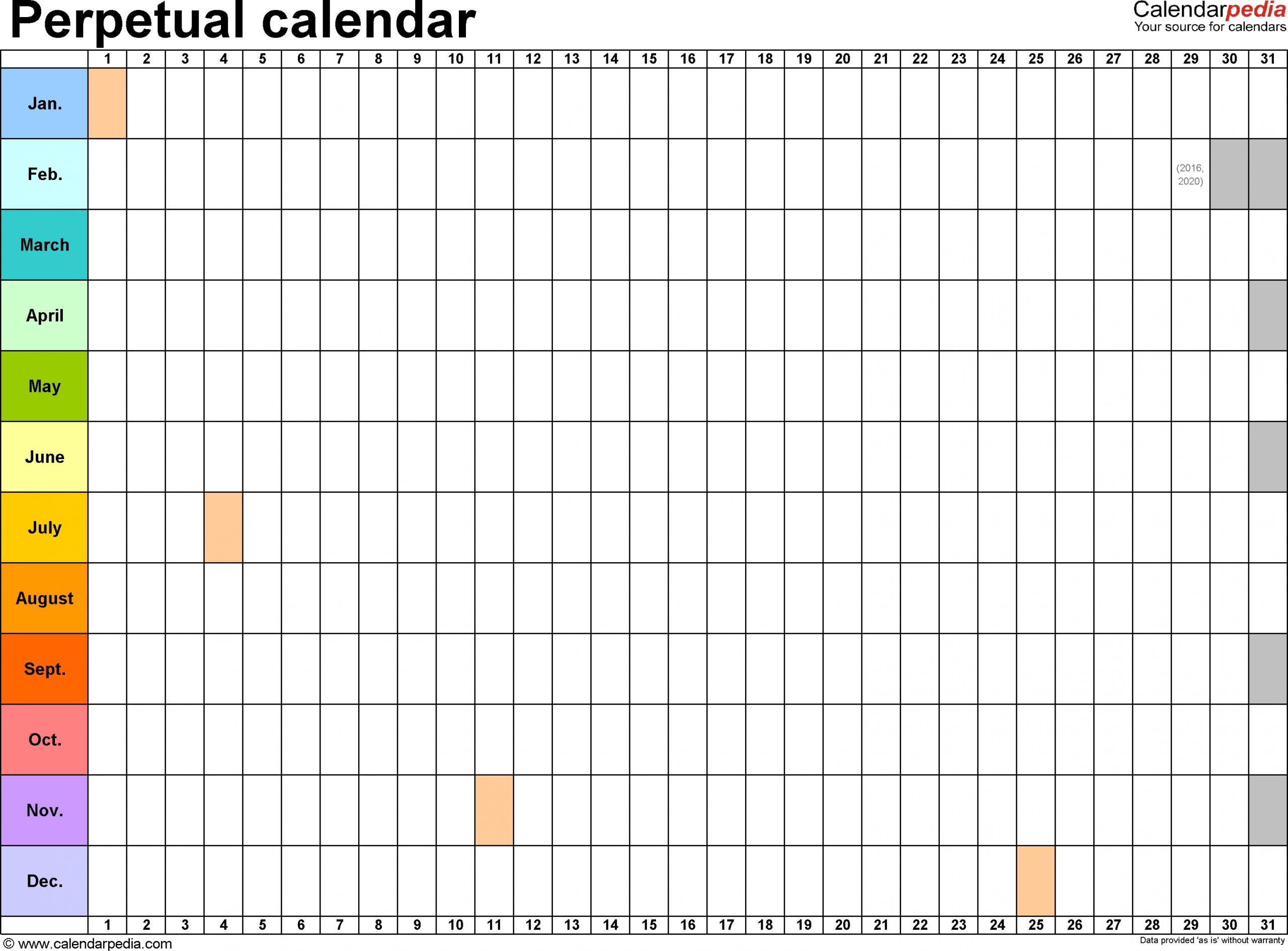 Collect Free Printable Blank Perpetual Calendars