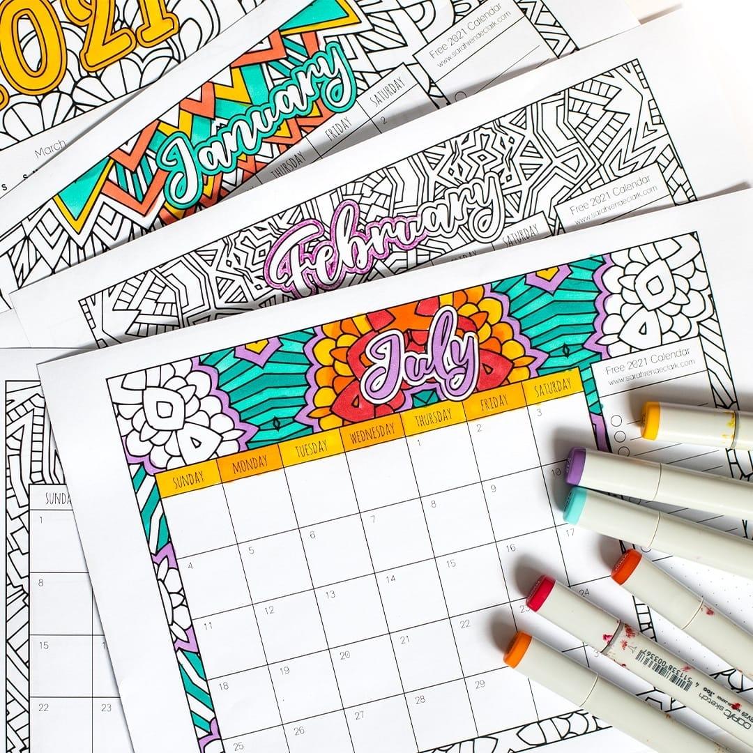 Collect Free Printable Coloring Calendar 2021