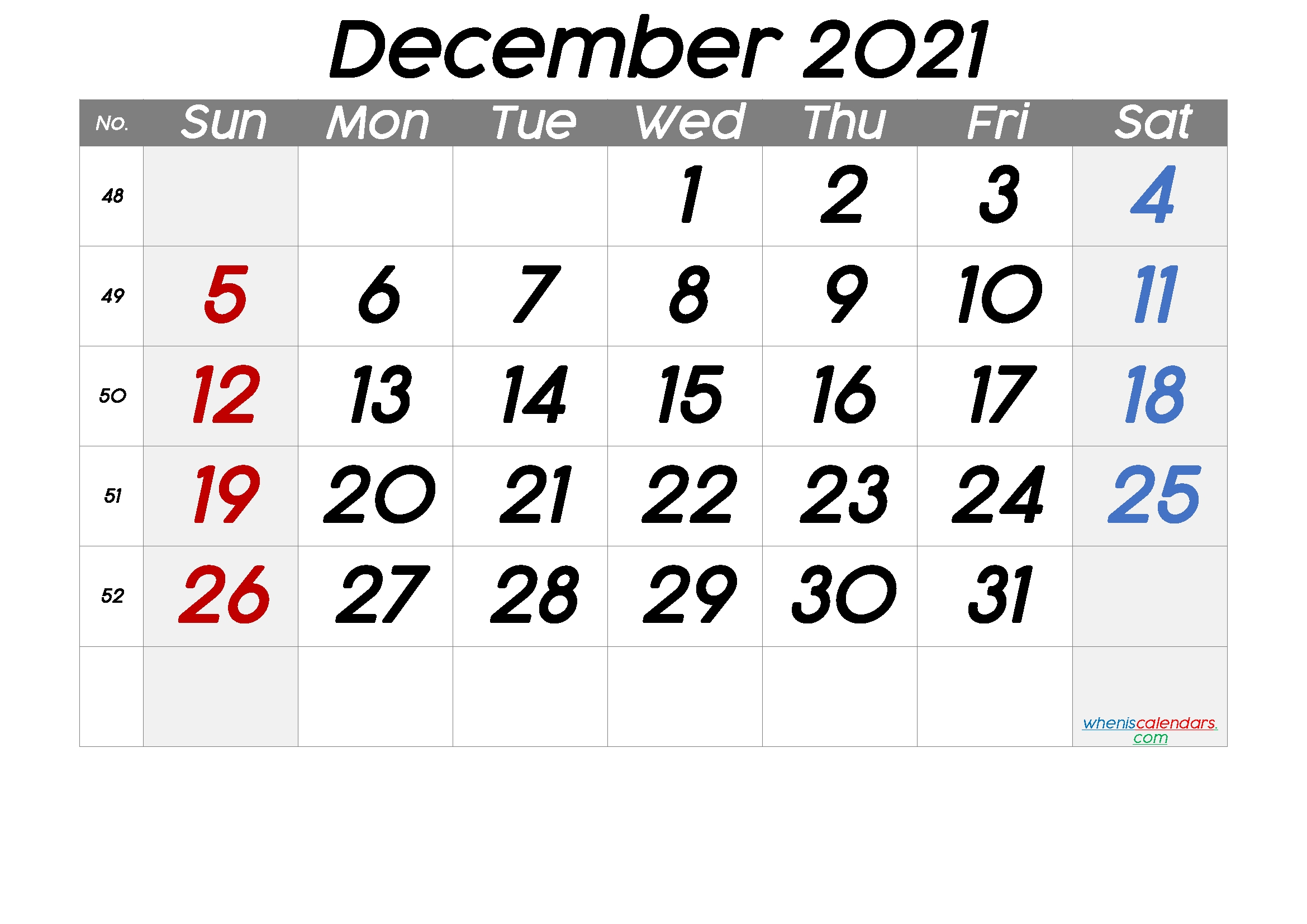 Collect Free Printable December 2021 8.5 X 11