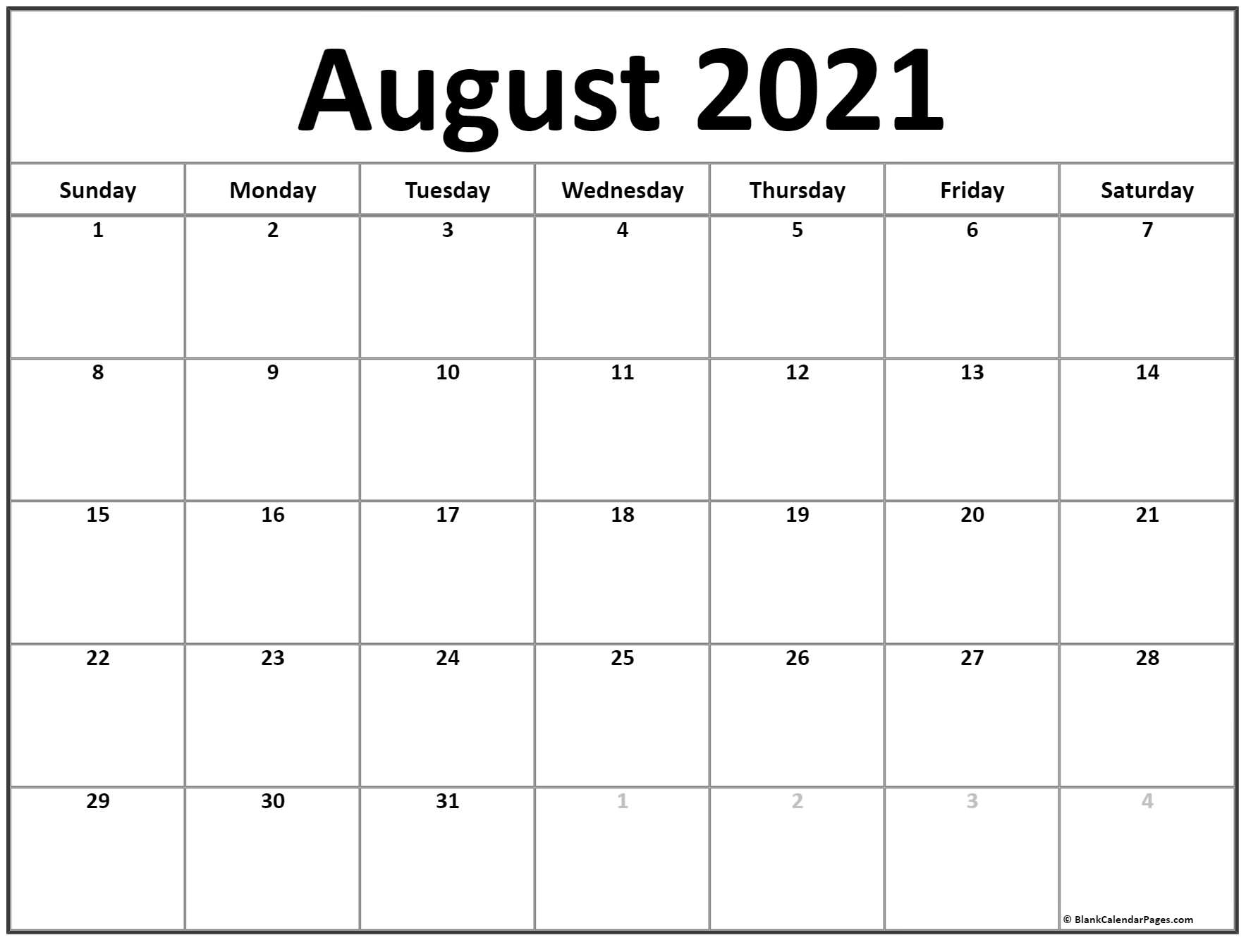 Collect Free Printable Monthly 2021 Calendar Pdf August