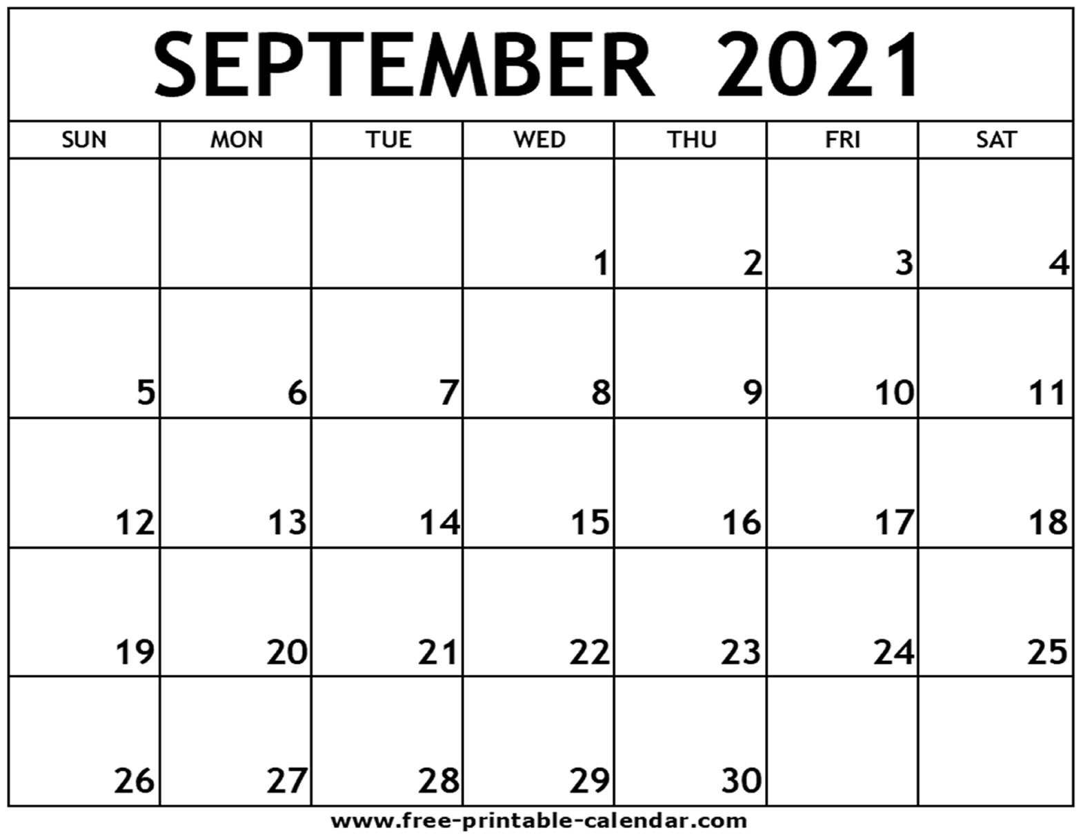 Collect Free Printable Monthly Calendar September 2021