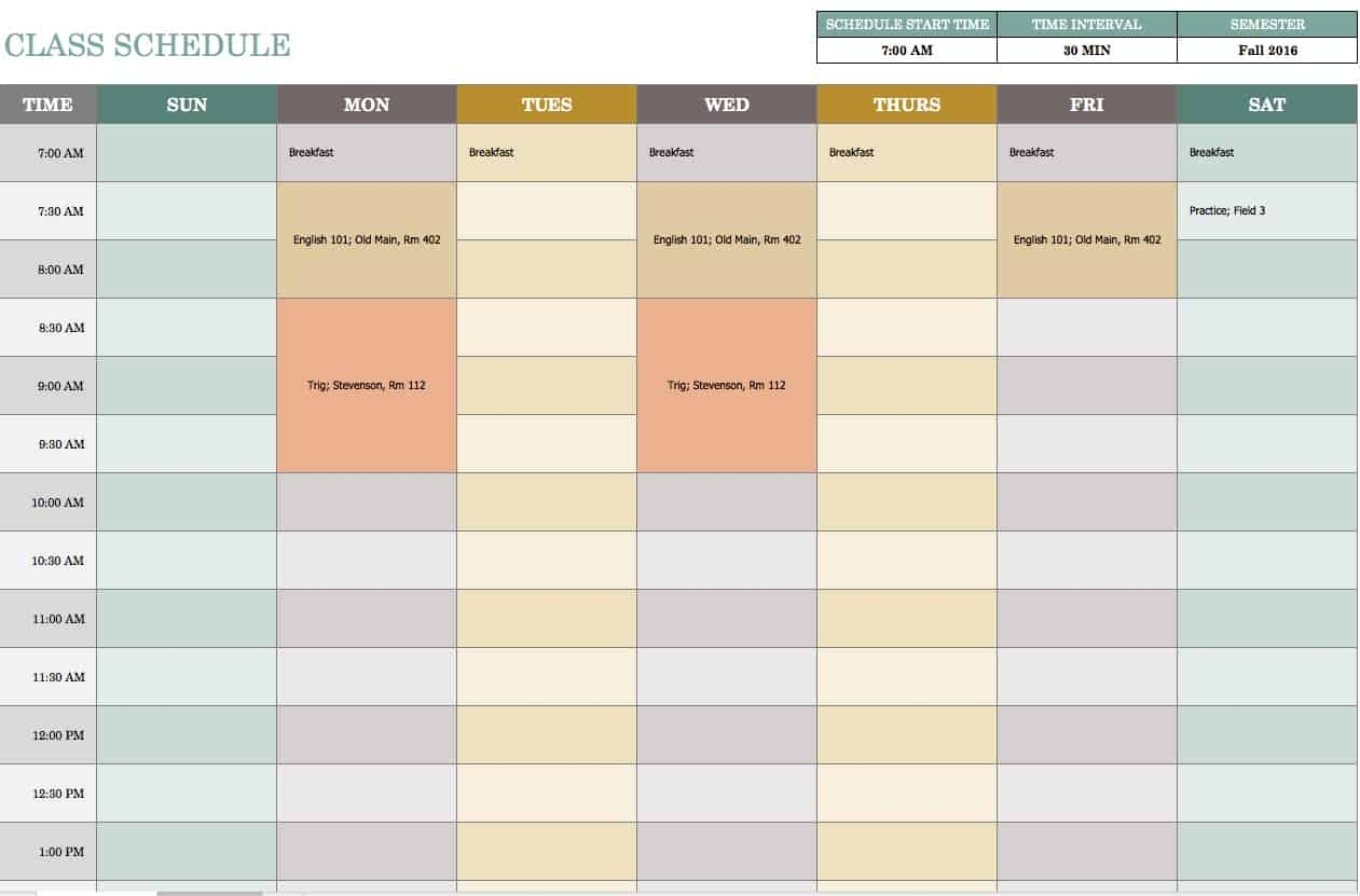Collect Free Printable Timetable Template Excel