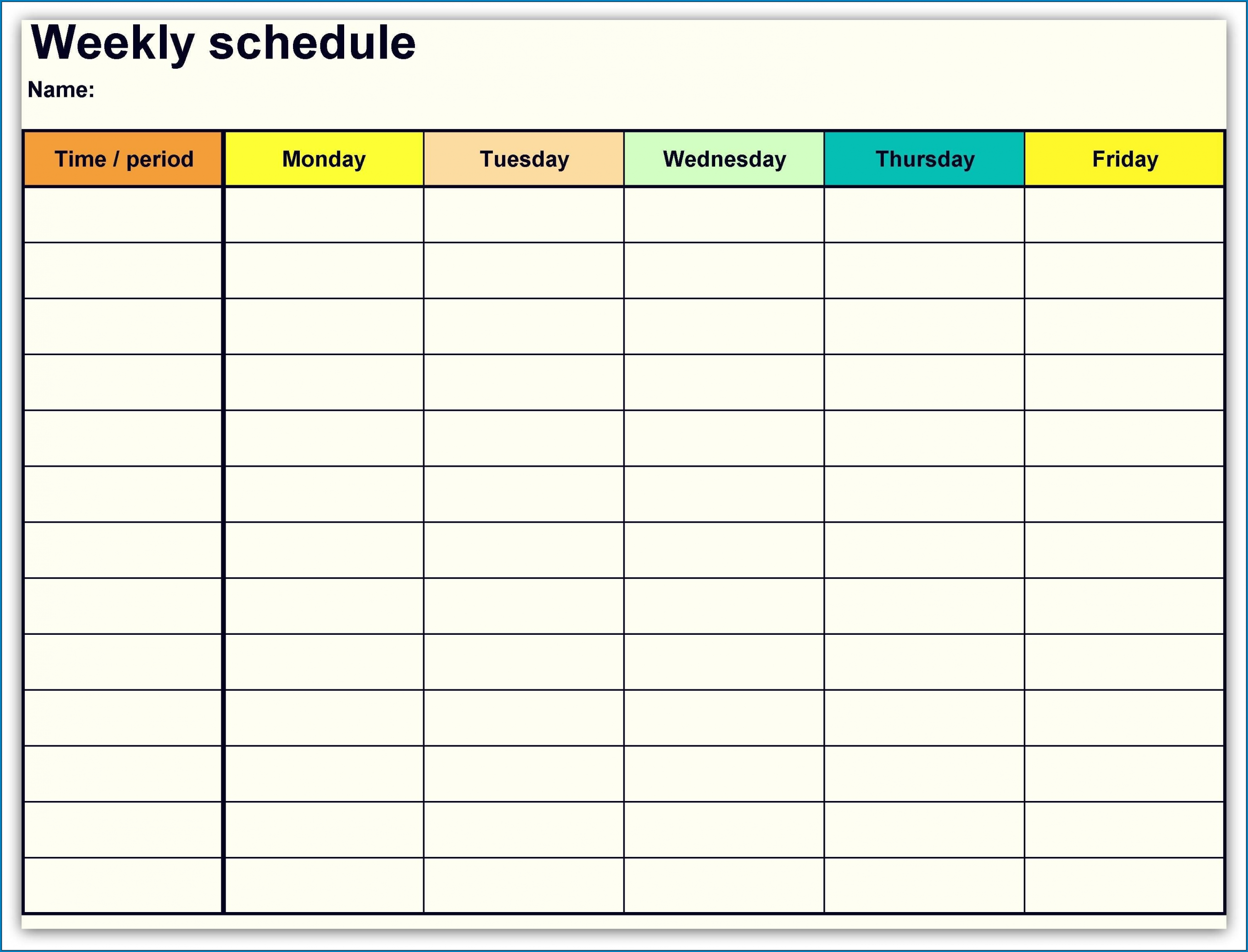Collect Free Printable Weekly Schedule Template
