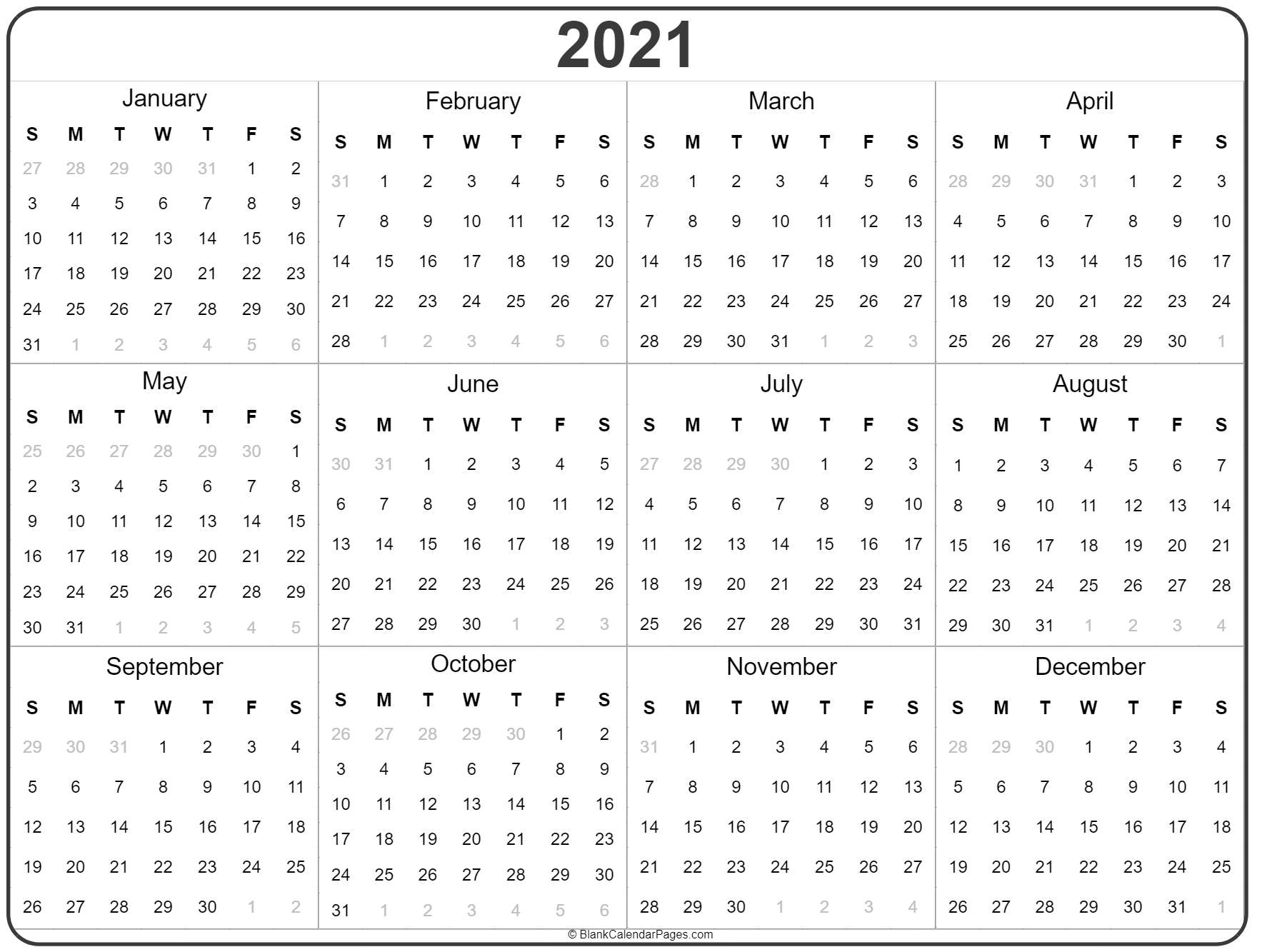 Collect Free Printable Yearly Calendar 2021