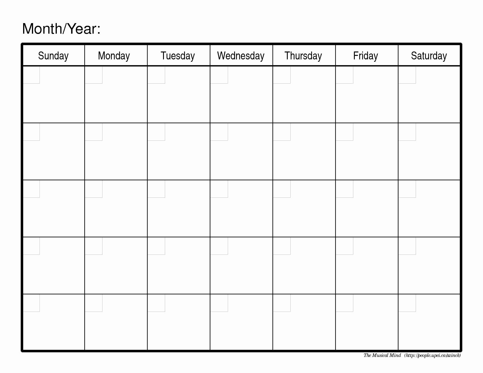Collect Full Size Blank Printable Calendar