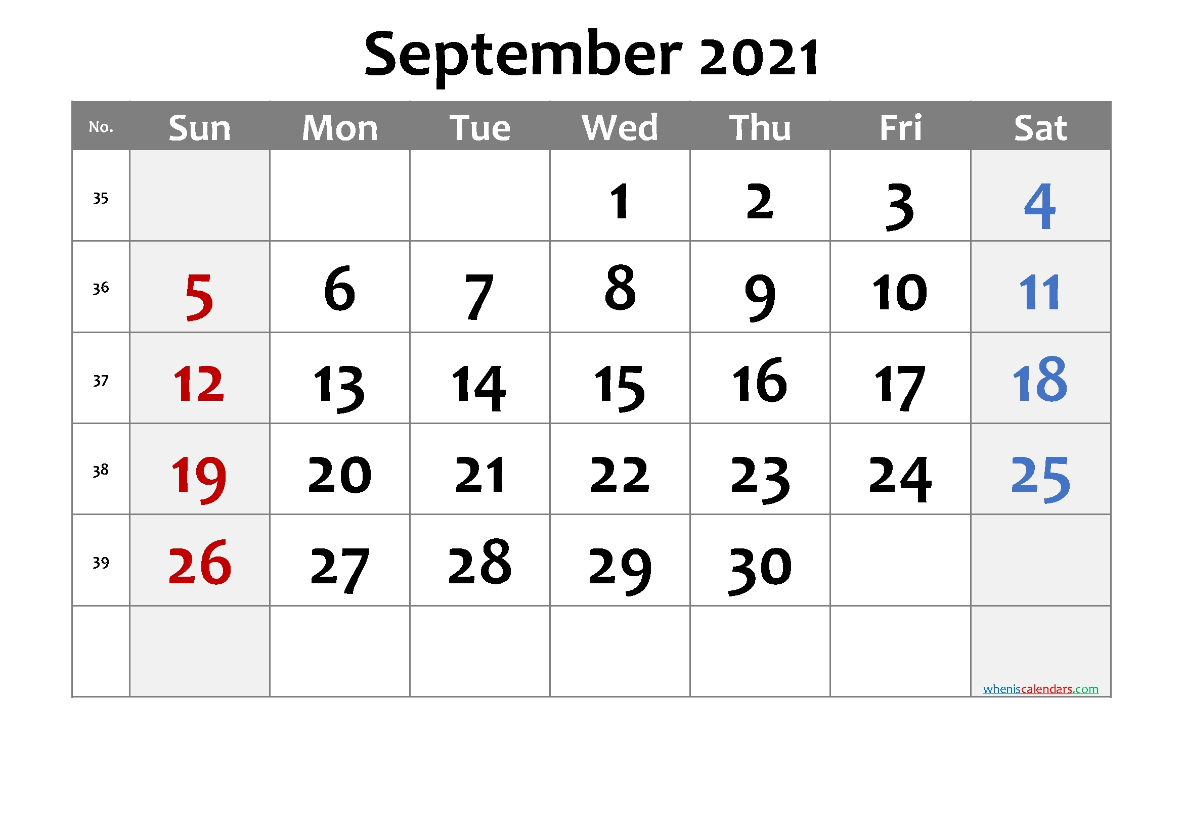 Collect Full Size September 2021 Calendar Printable