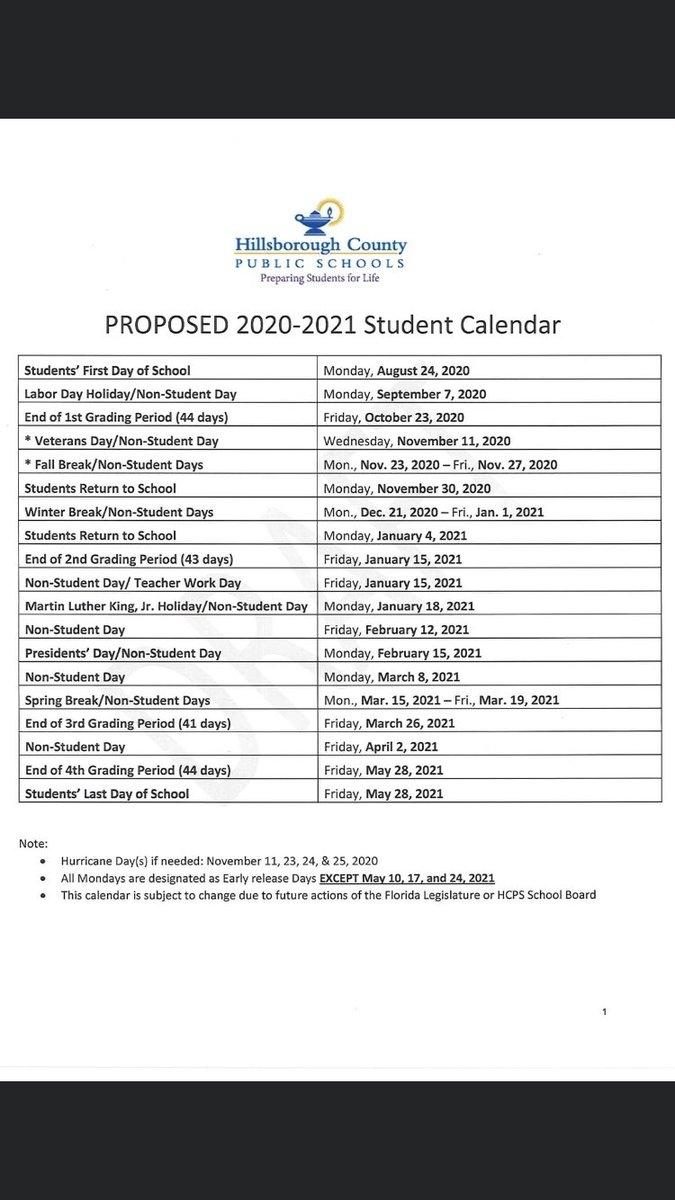 Collect Hillsborough County School Calendar 2021