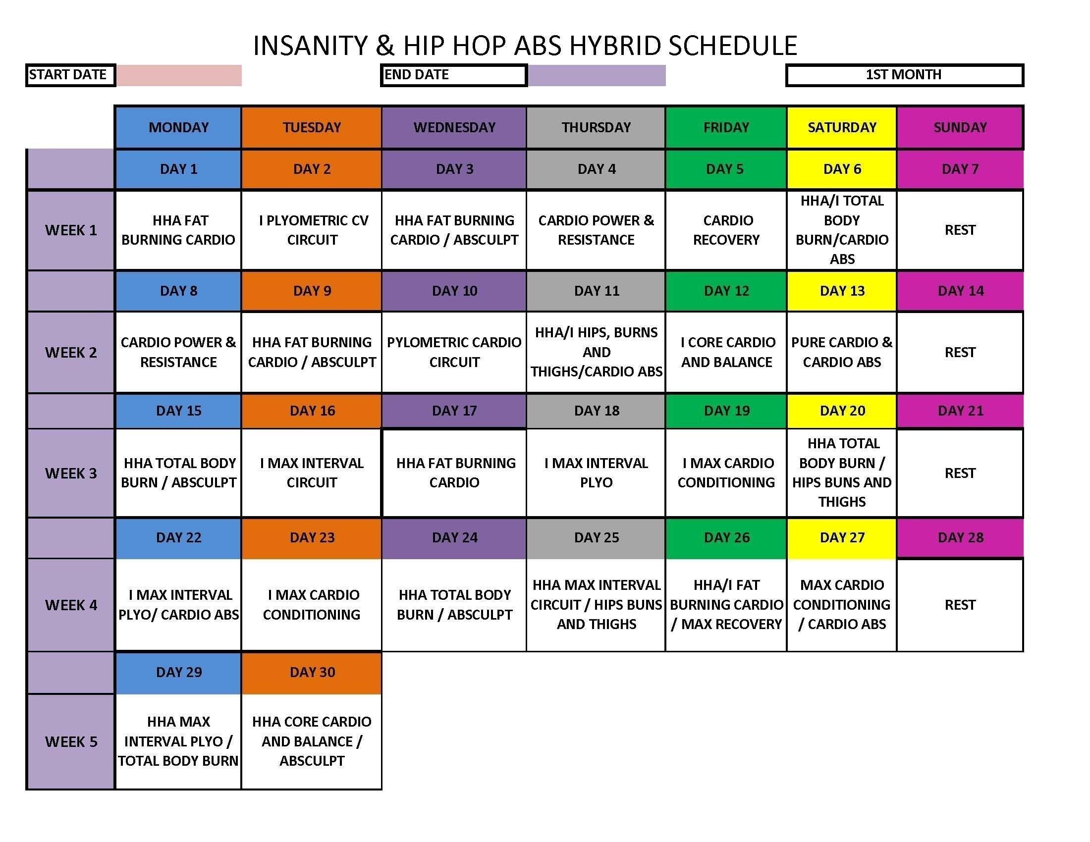Collect Hip Hop Abs Calendar Printable