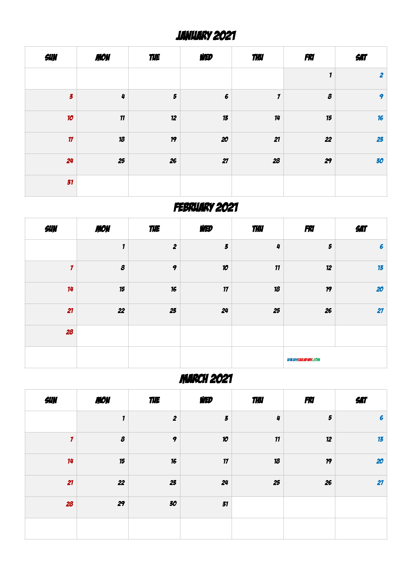 Collect Jan Feb Mar 2021 Calendar