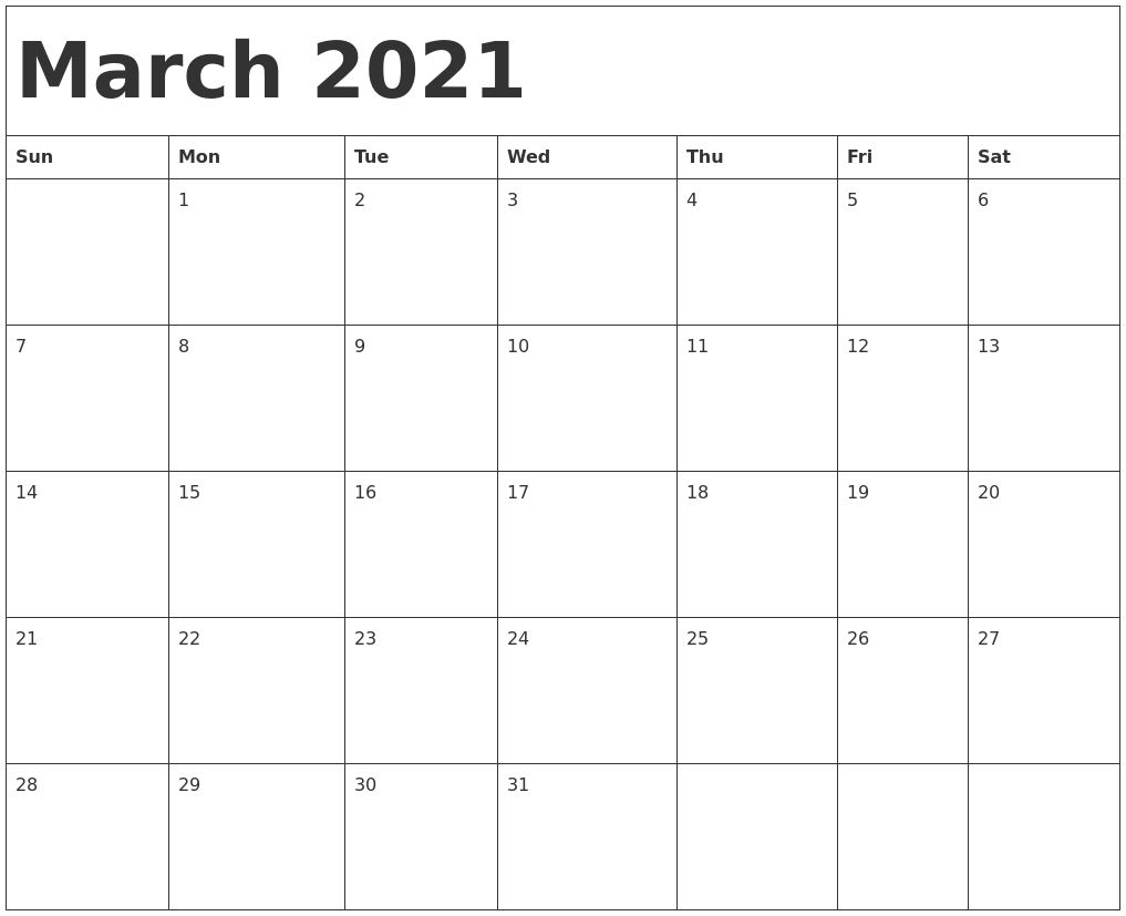 Collect Jan Feb March Calendar 2021