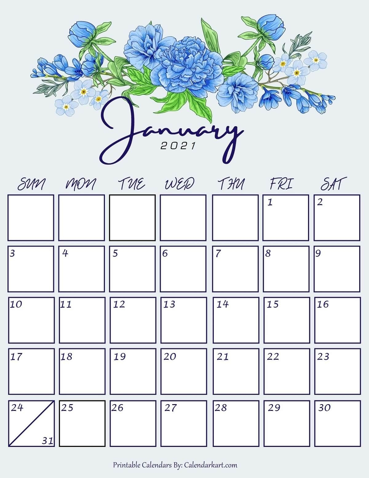 Collect January 2021 Blank Calendar Motivated
