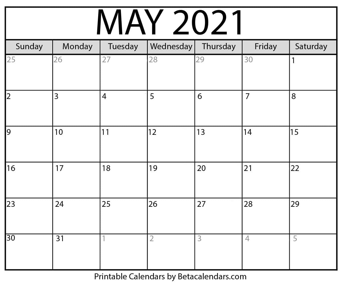 Collect January Through May 2021 Calendar