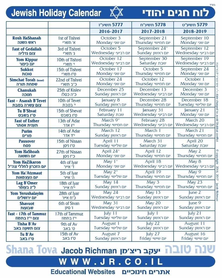 Collect Jewish Calendar Year 2021