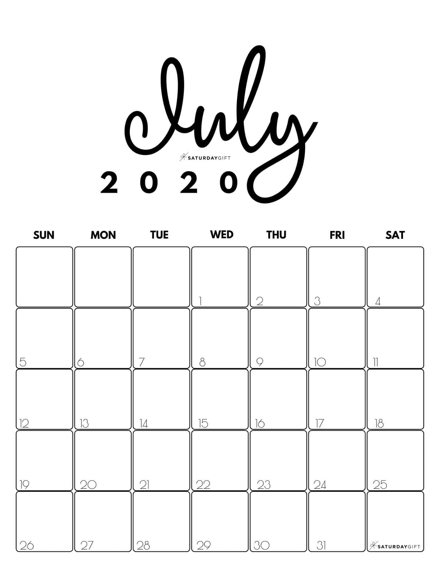Collect July Calendar Free Screensavers 2021