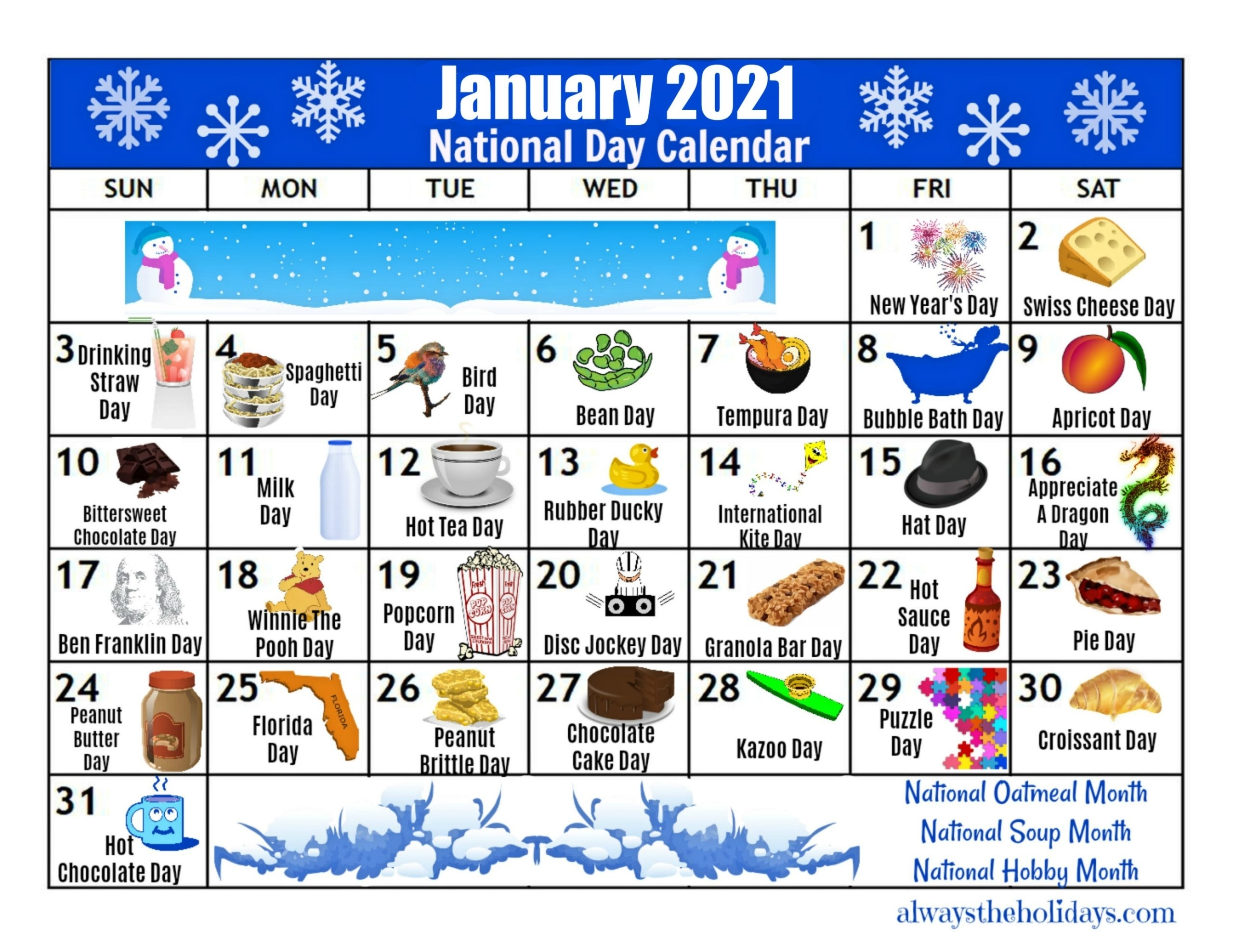 Collect July National Day Calendar 2021 Printable
