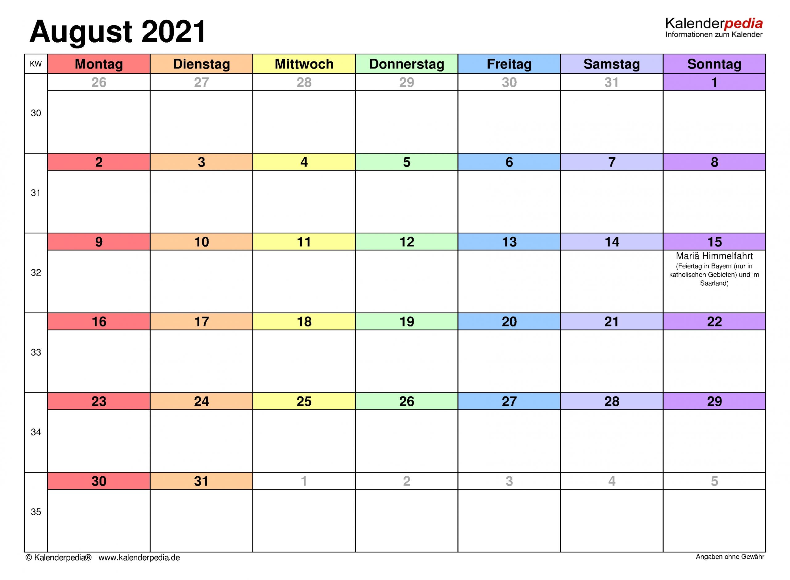 Collect Kalender Monat August 2021 Zum Ausdrucken Kostenlos
