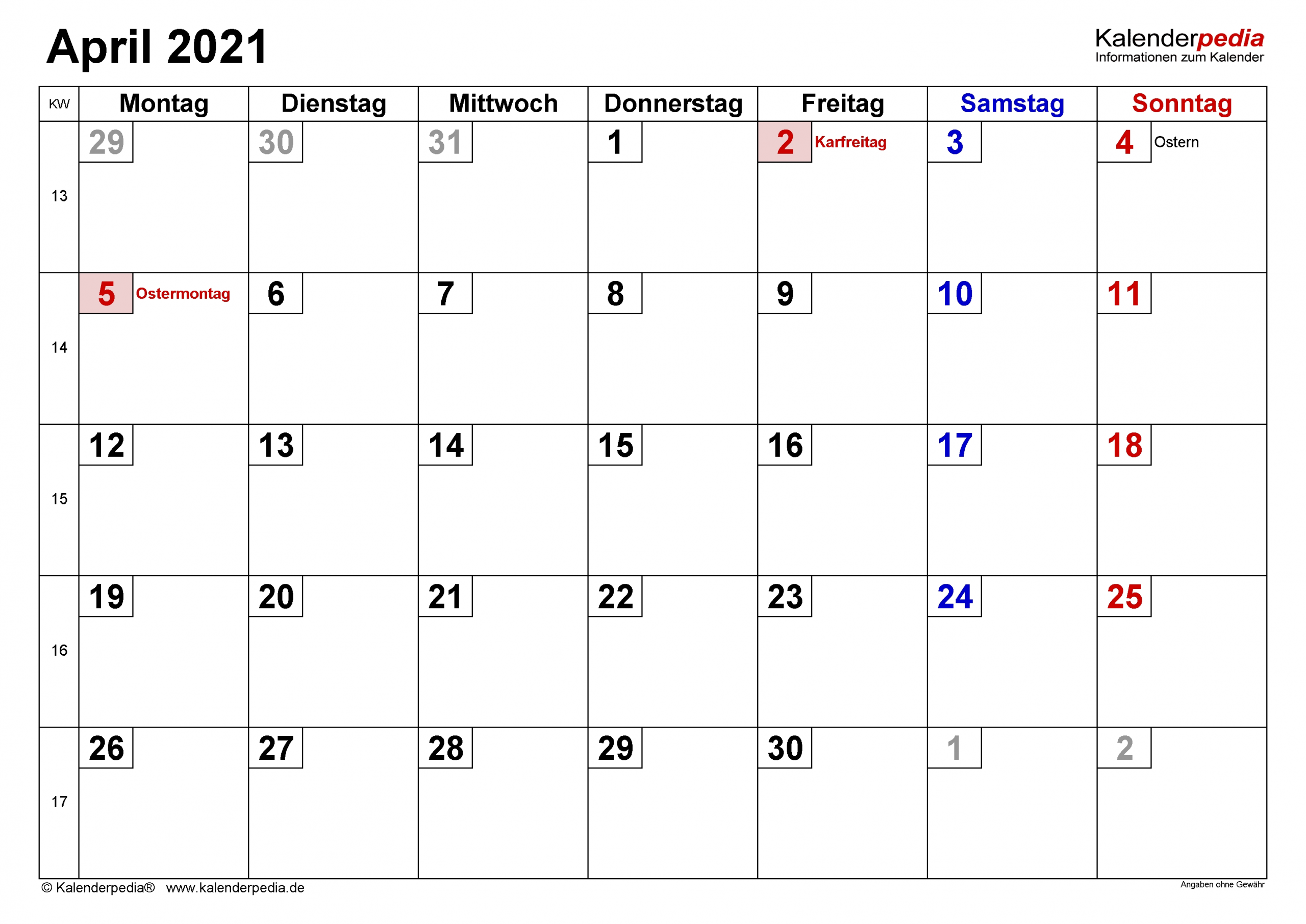 Collect Kalenderblatt Monat 2021