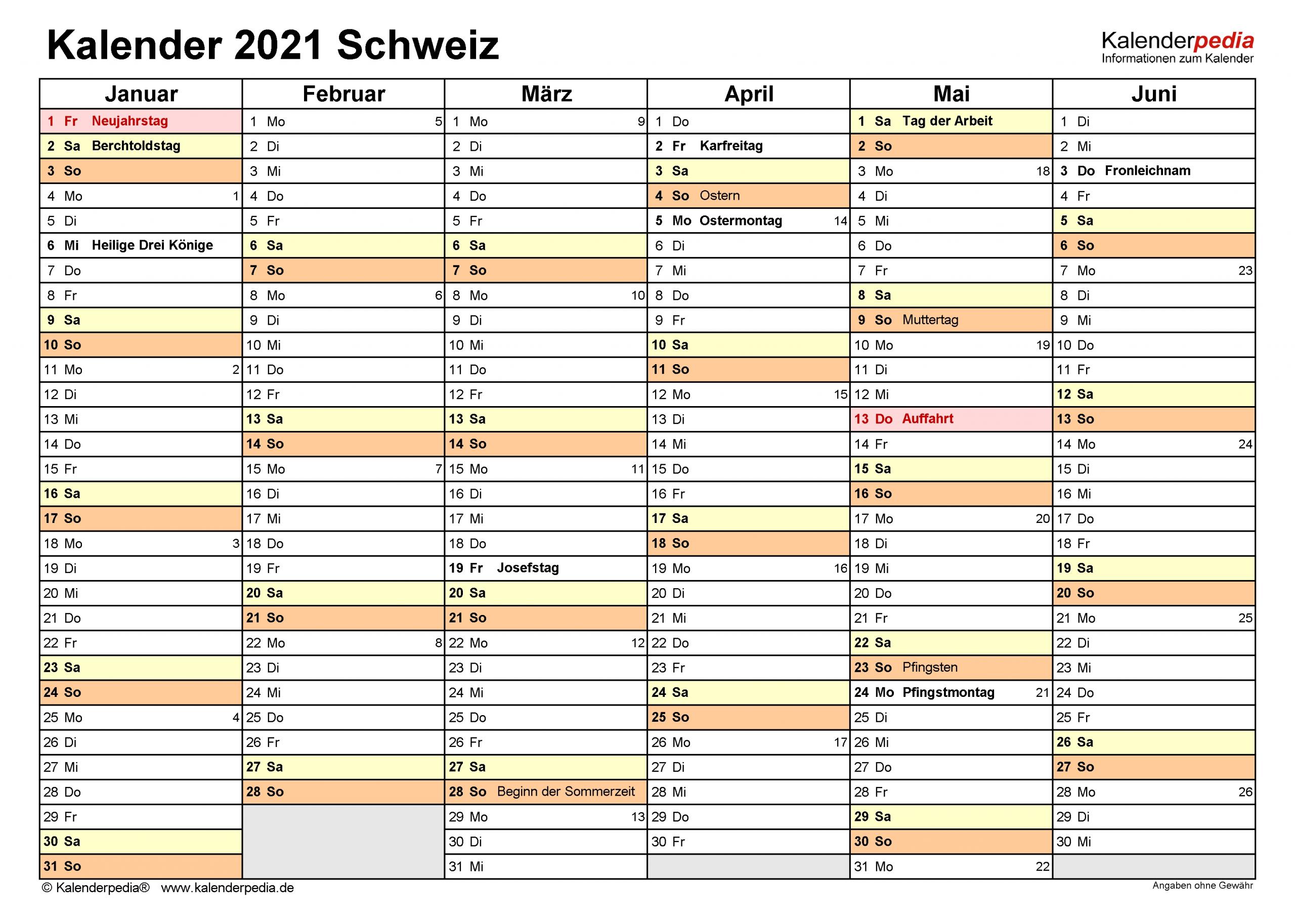 Collect Kalenderpedia 2021 Schweiz Pro Monat