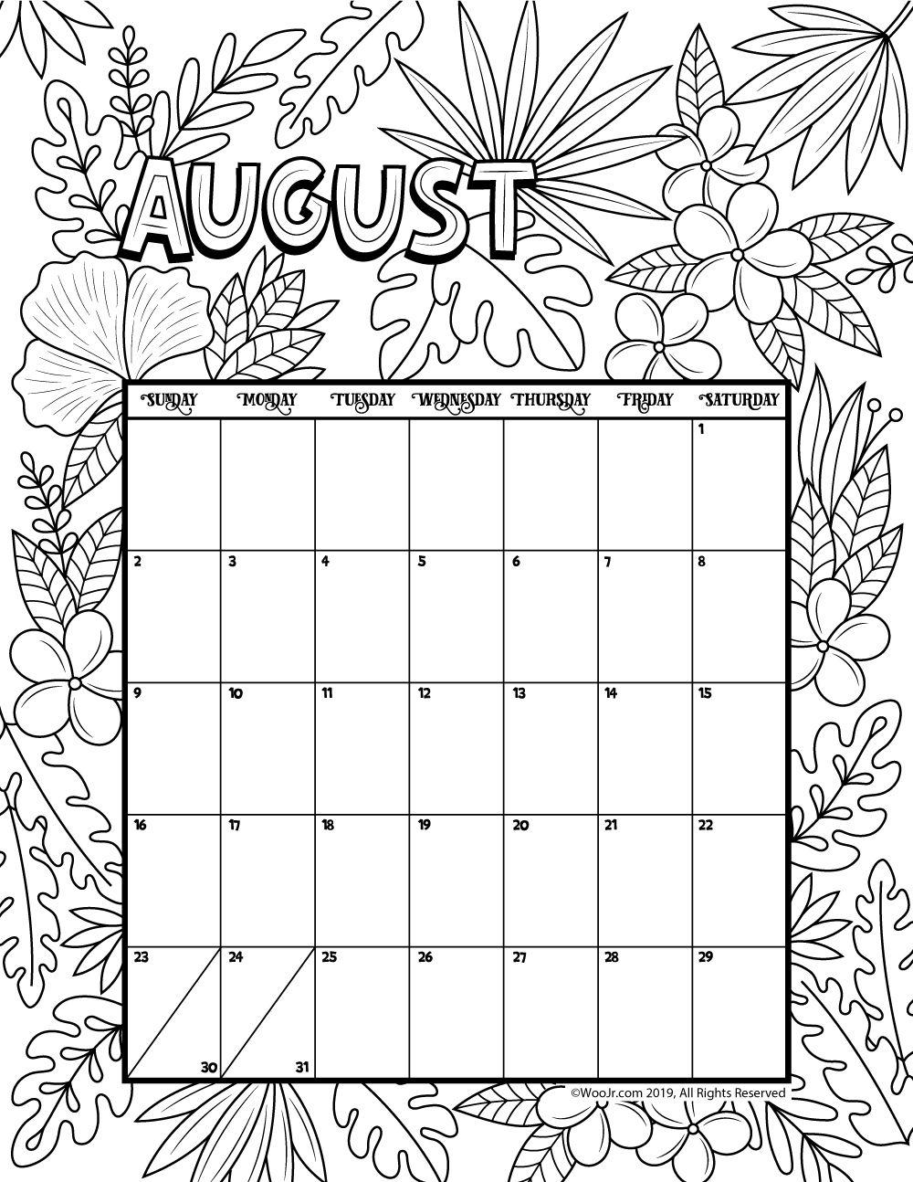 Collect Kids August Calendar