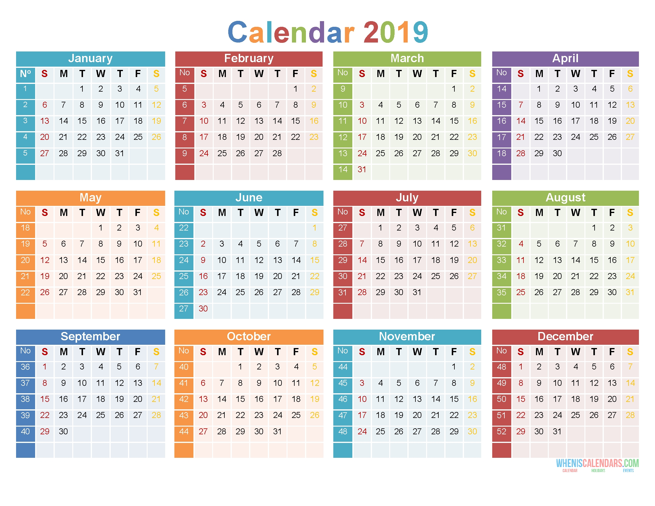 Collect Large Box Monthly Calendar Free Print