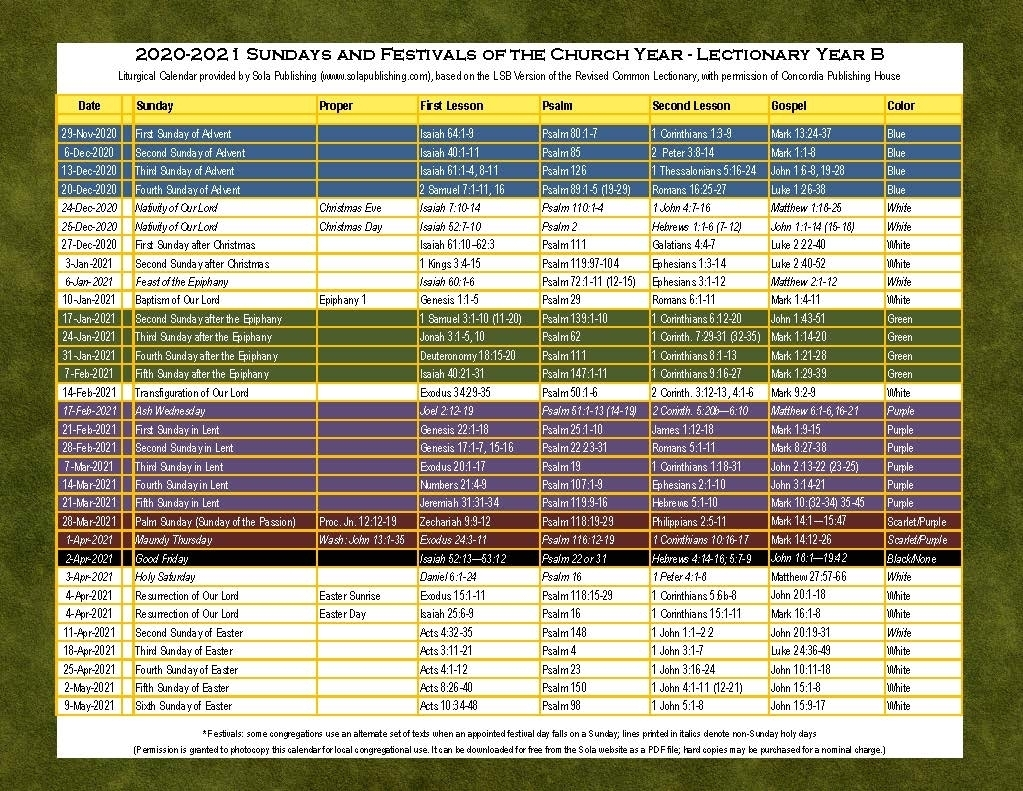 Collect Liturgical Calendar 2021 Catholic Pdf