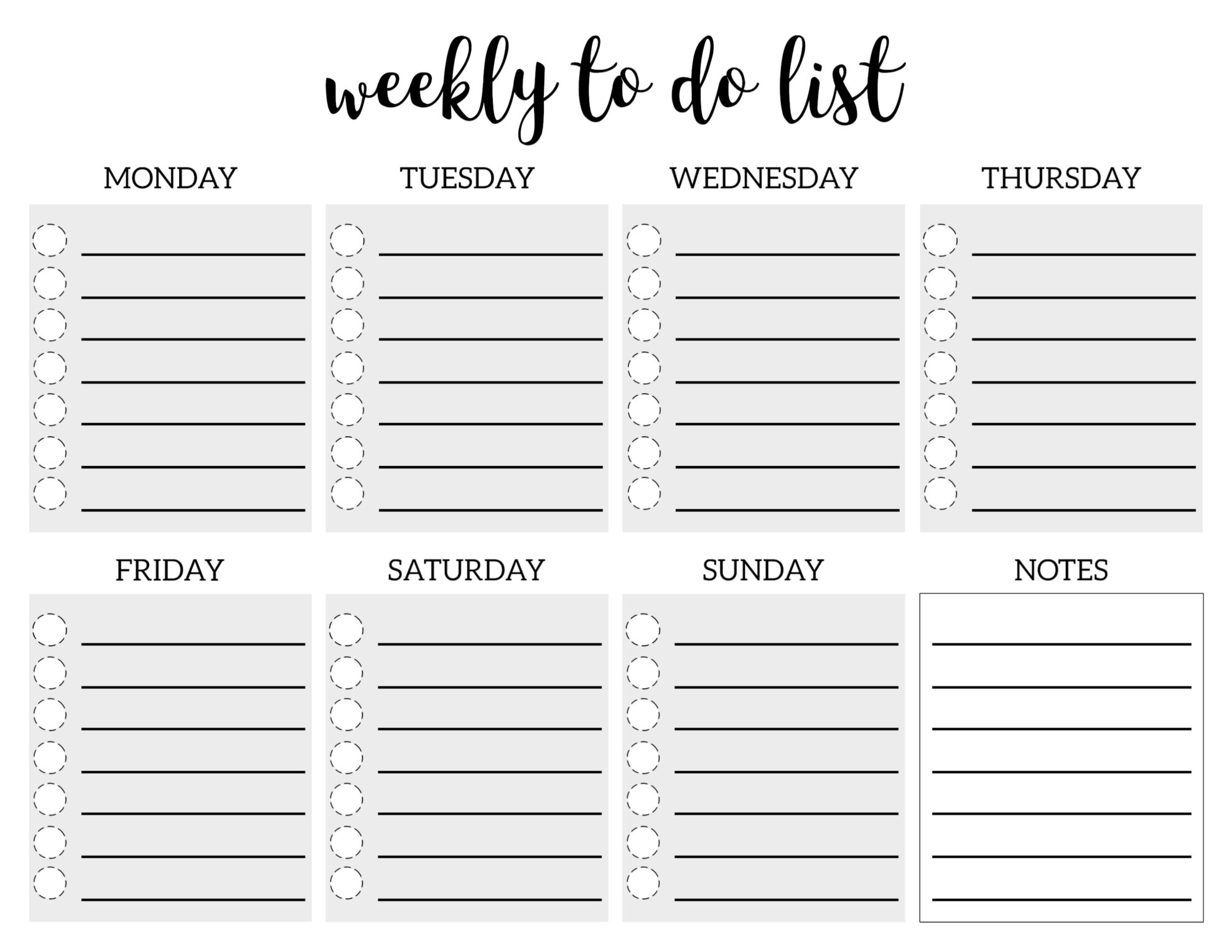 Collect Monday – Friday To Do List