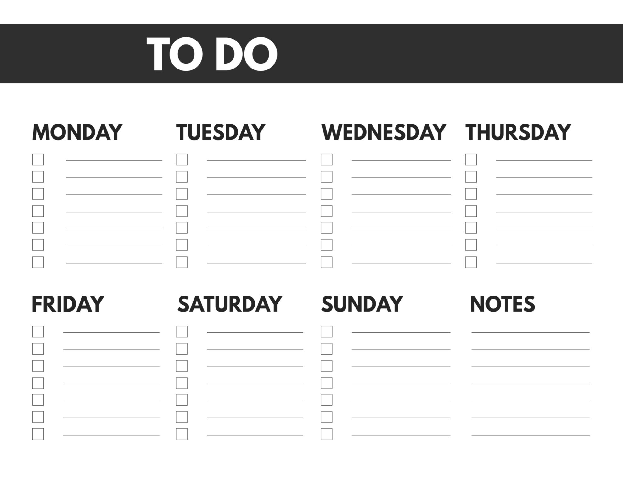 Collect Monday - Friday To Do List