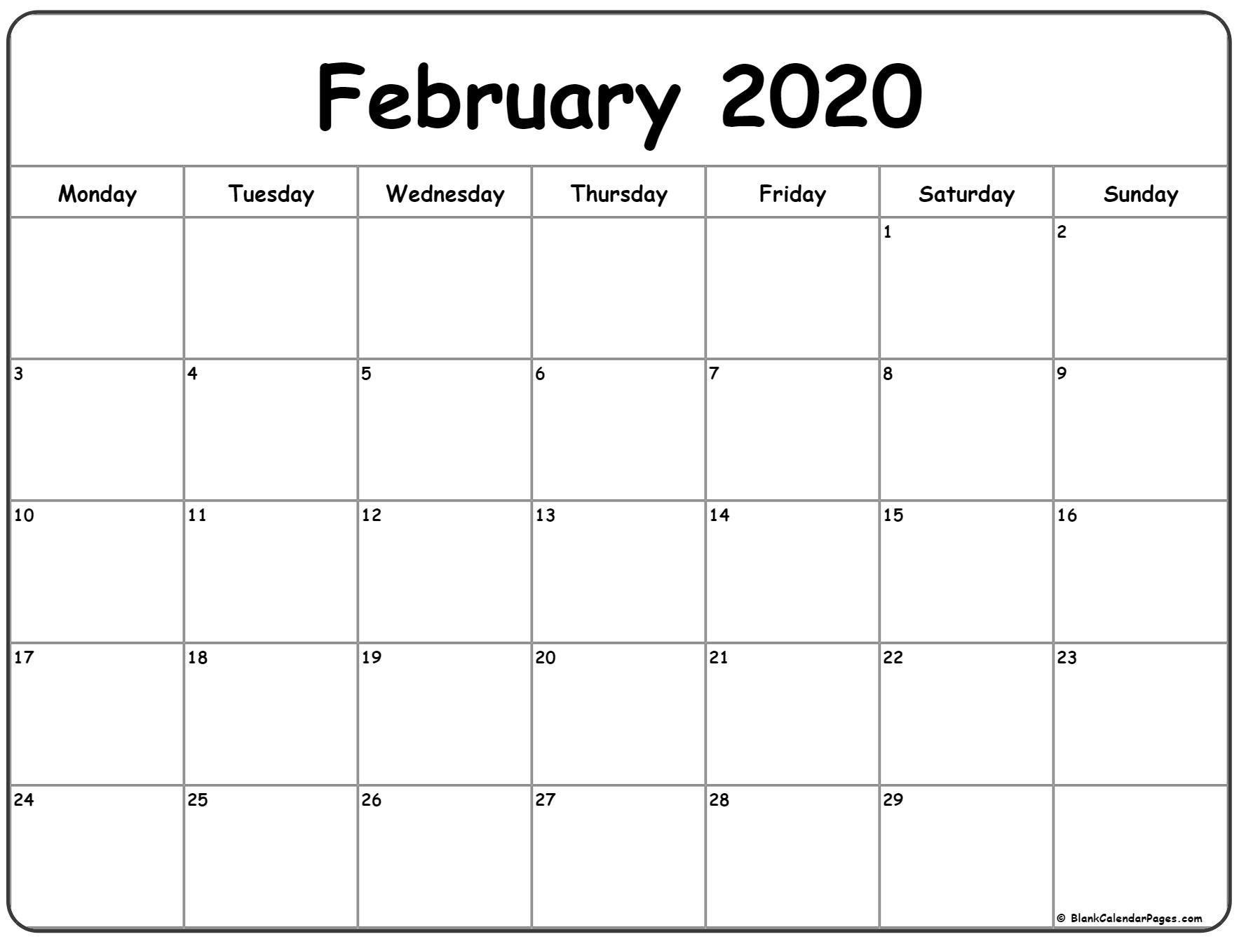 Collect Monday Through Friday Monthly Calendar