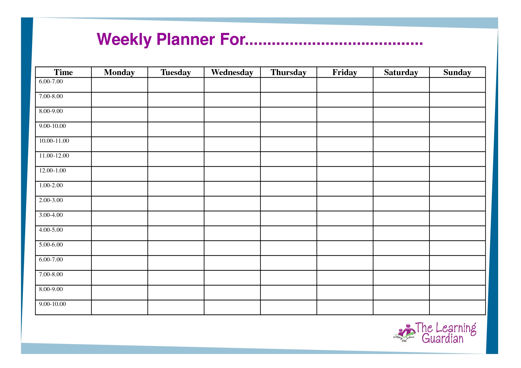 Collect Monday To Friday Calendar With Times