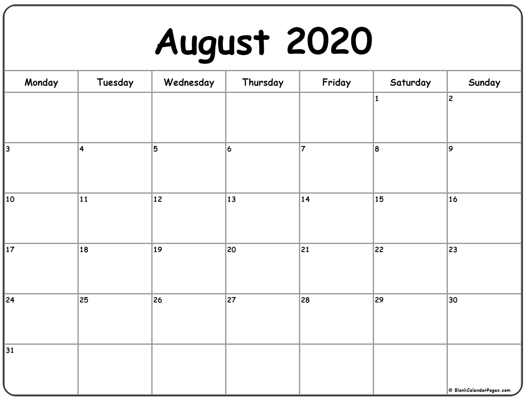 Collect Monday To Sunday Calendar