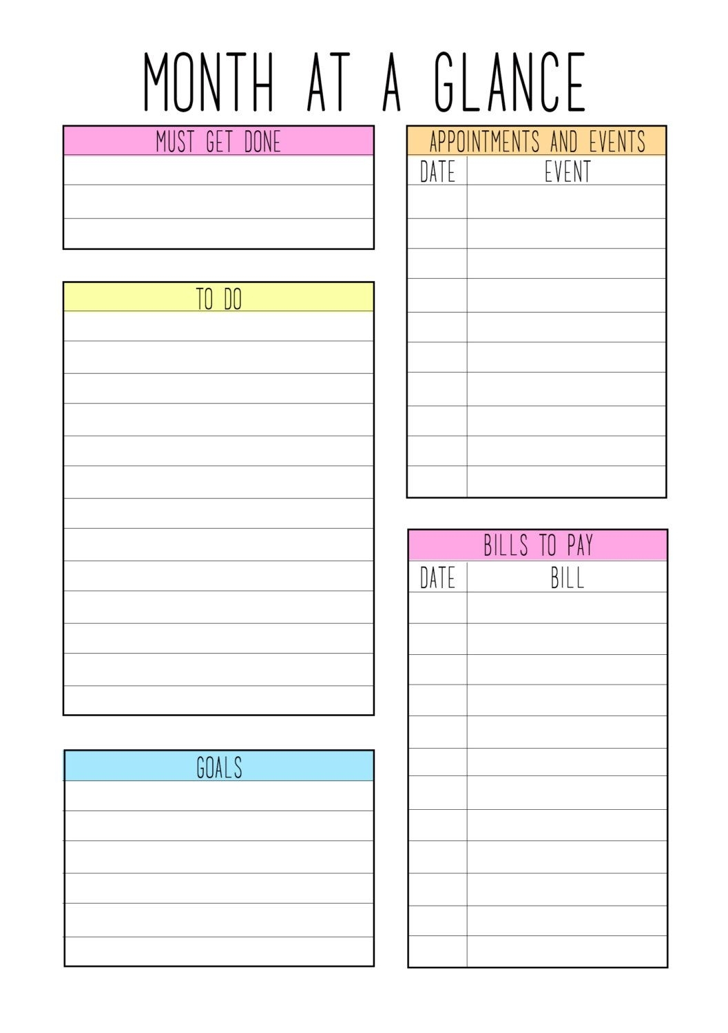 Collect Month At A Glance Free Template