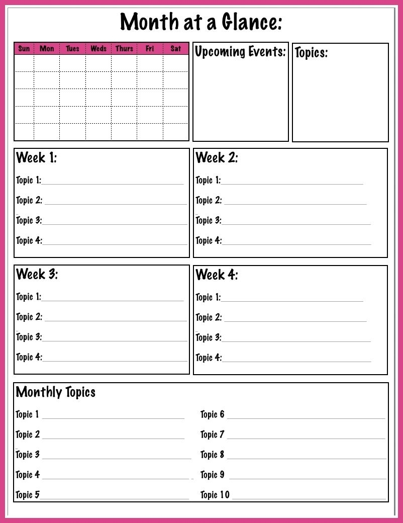 Collect Month At A Glance Printable