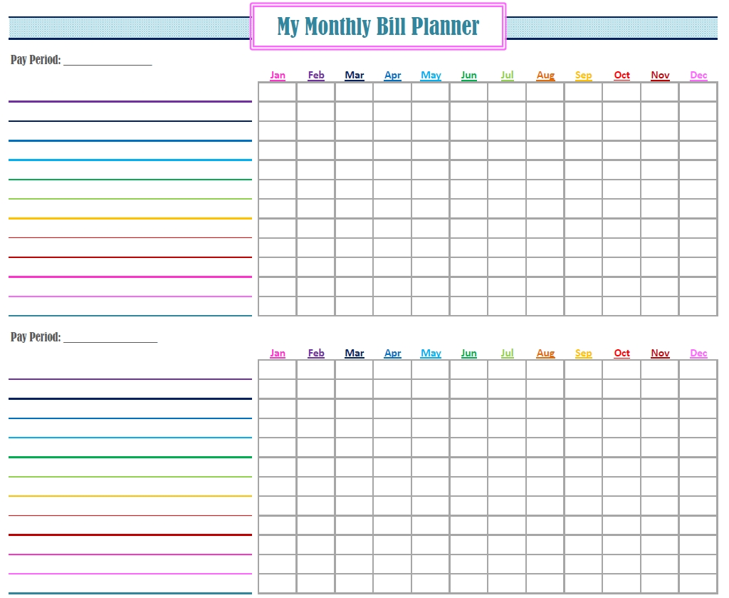 Collect Monthly Bill Calendar Template