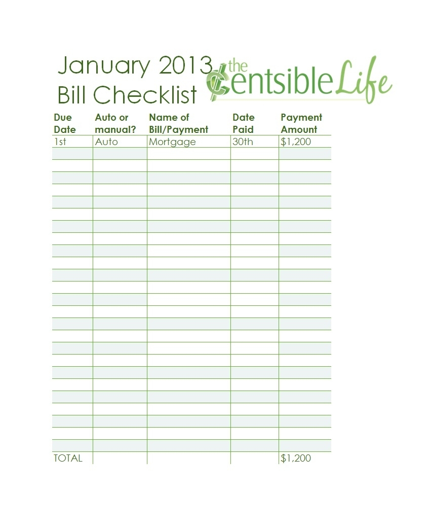 Collect Monthly Bill Due Date Printable